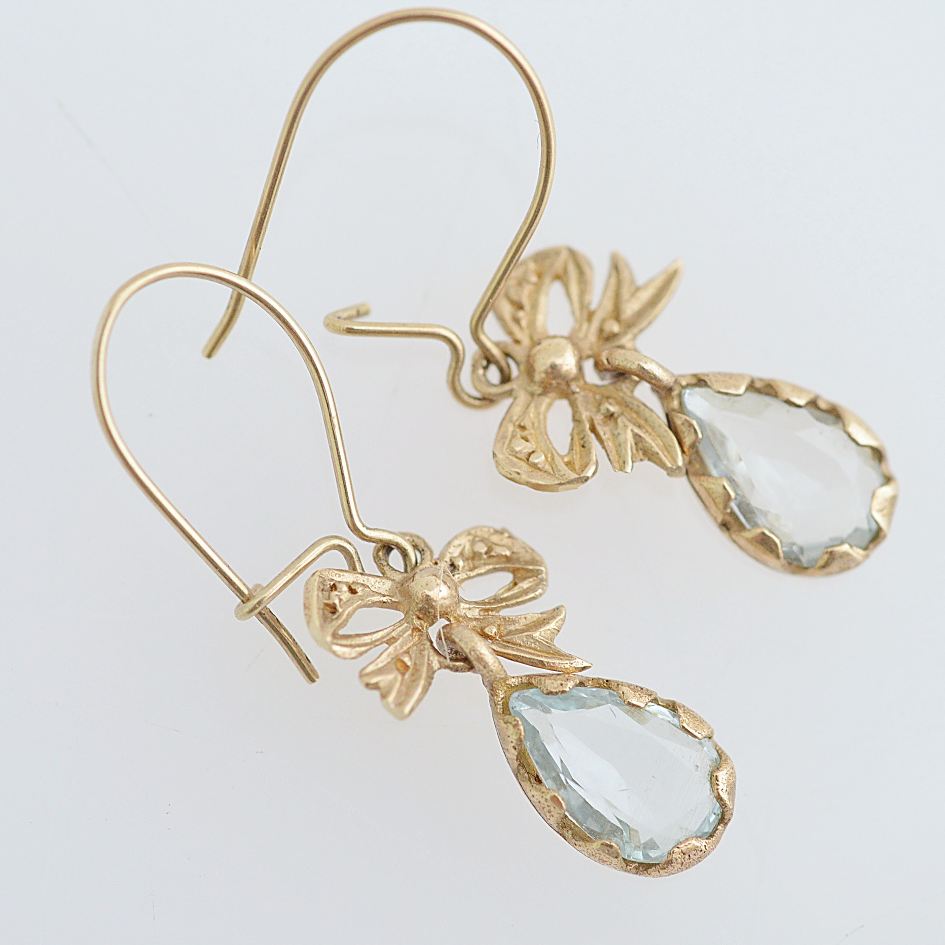 10K Yellow Gold and Aquamarine Pierced Earrings