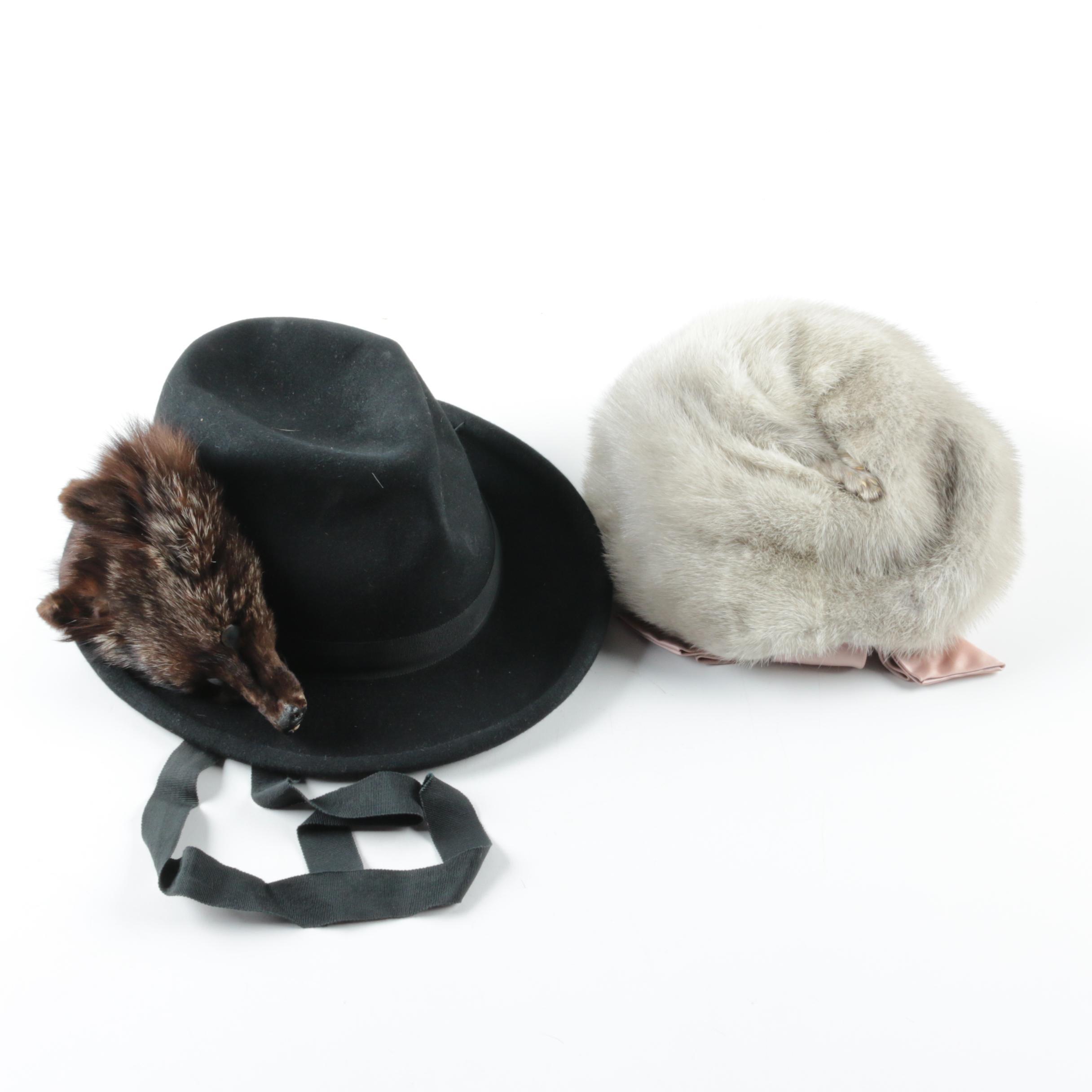 Women's Vintage Fur Hats Including Mink Fur