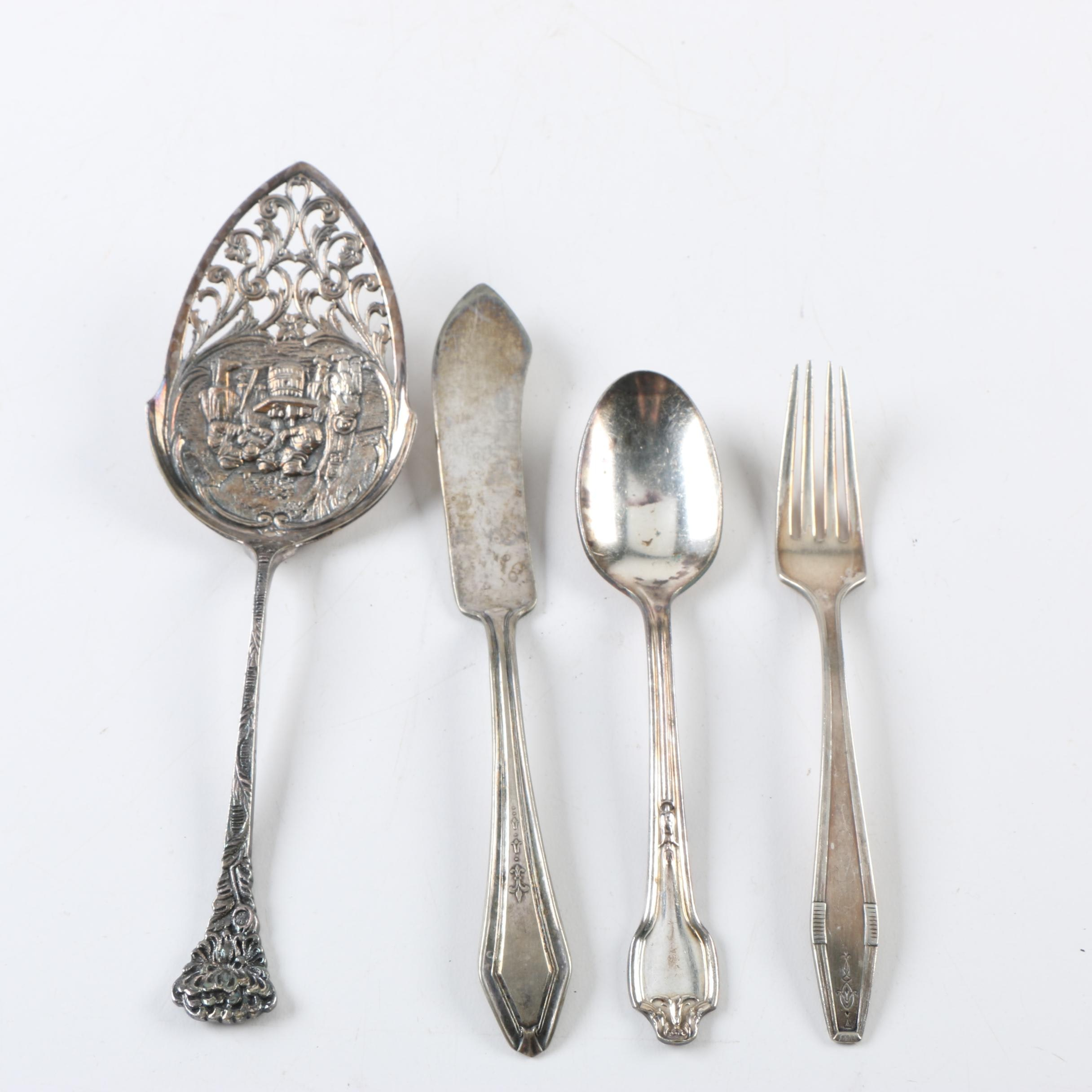 Dutch Openwork Cake Server and Other Silver Plate Servingware