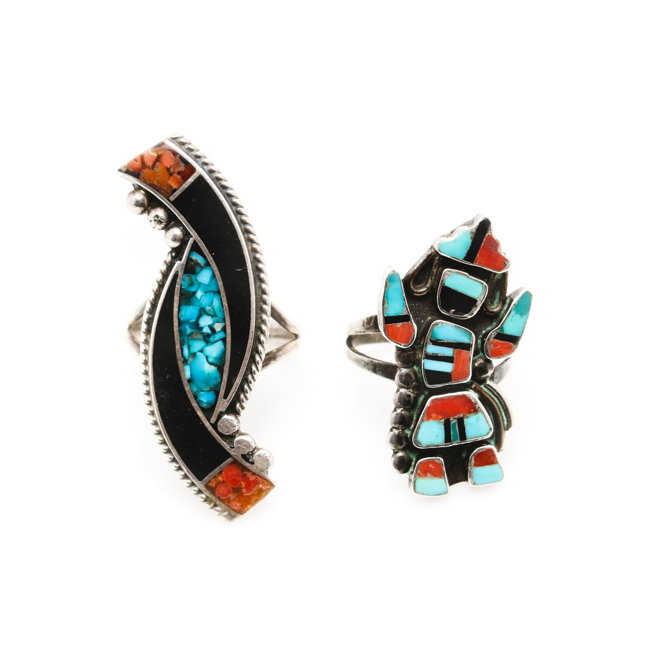 Southwestern Style Sterling Silver Inlay Rings Including Turquoise