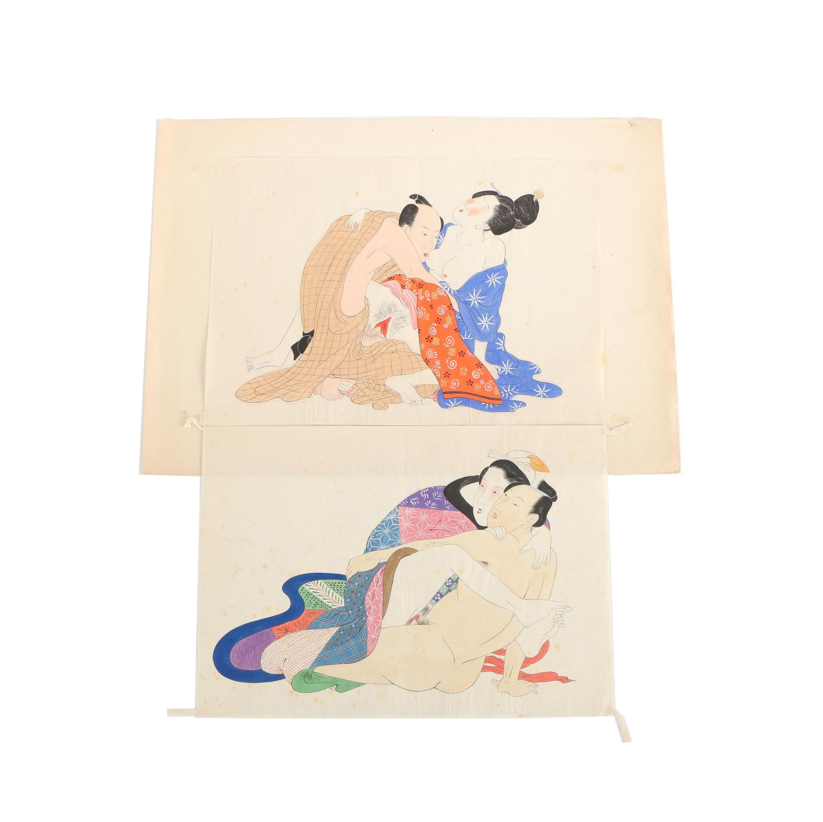 Ink and Gouache Paintings After Kitagawa Utamaro