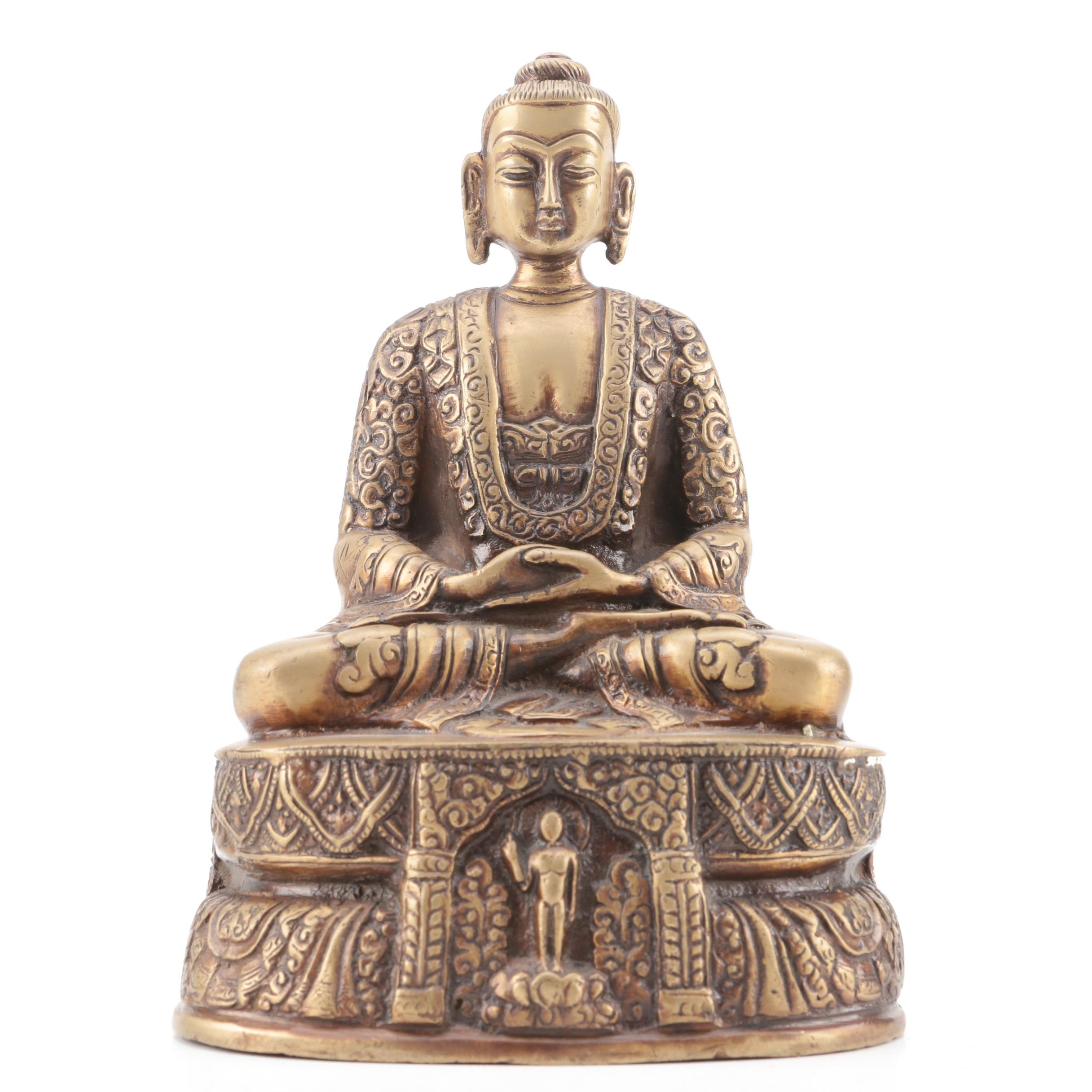Chinese Style Brass Tone Meditating Buddha Figure