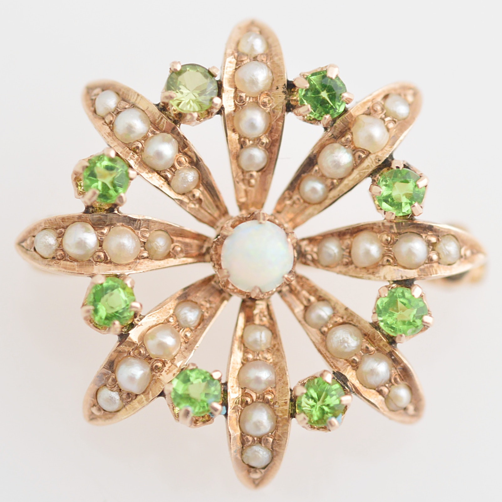 Vintage 14K Yellow Gold, Peridot, Opal and Seed Pearl Brooch