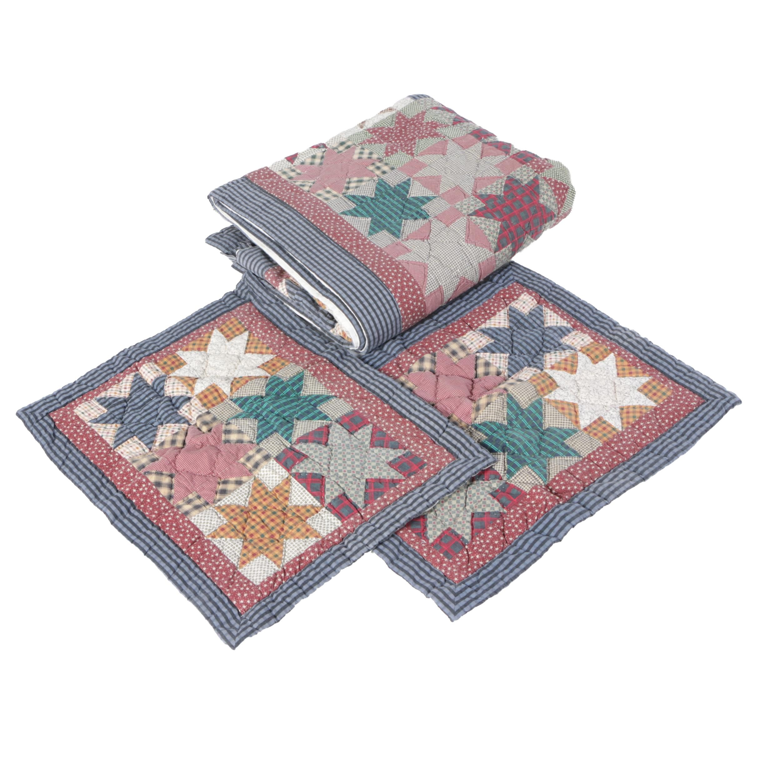 """Vintage """"Sawtooth Star"""" Cotton Quilt and Shams"""