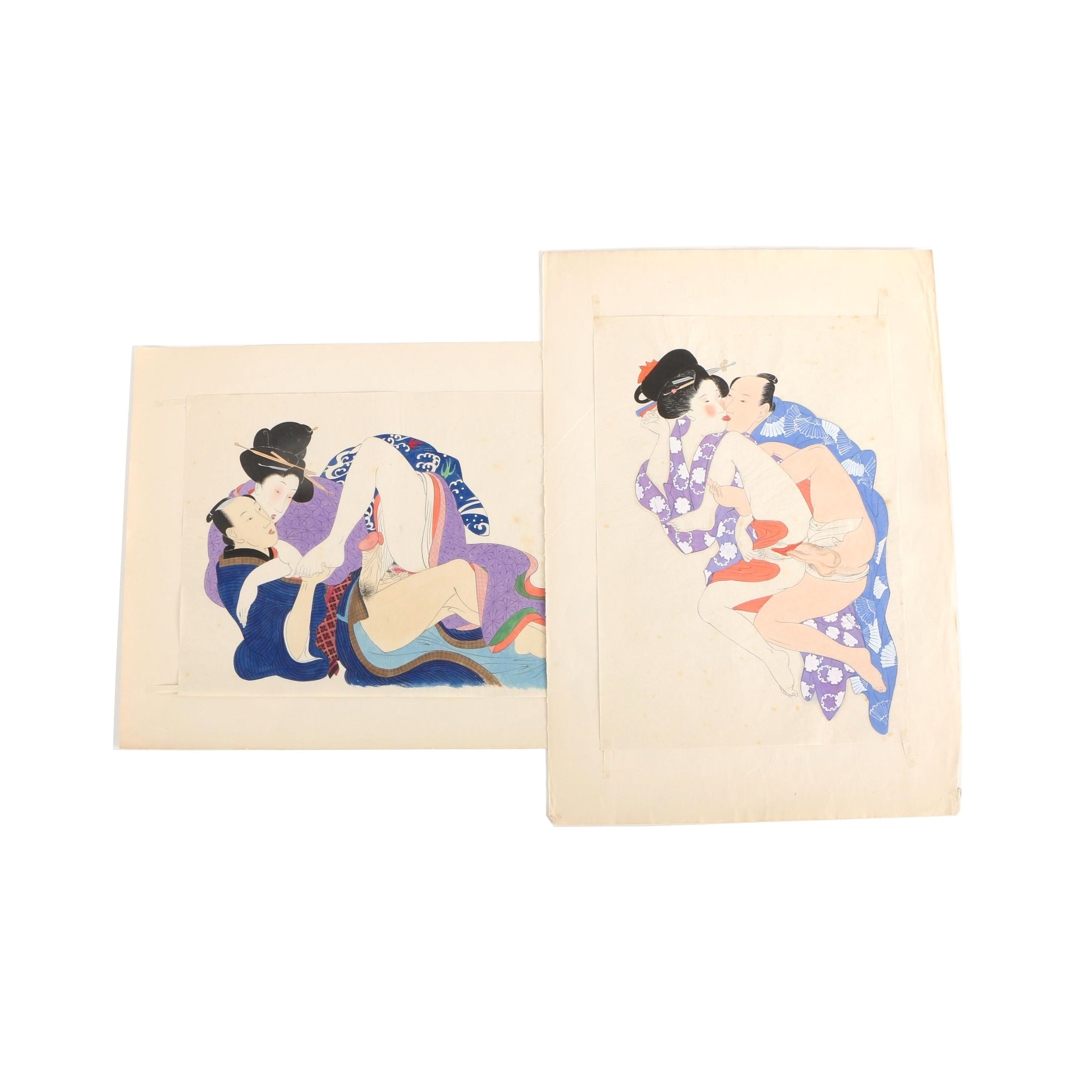 Shunga Style Ink and Gouache Paintings After Kitagawa Utamaro