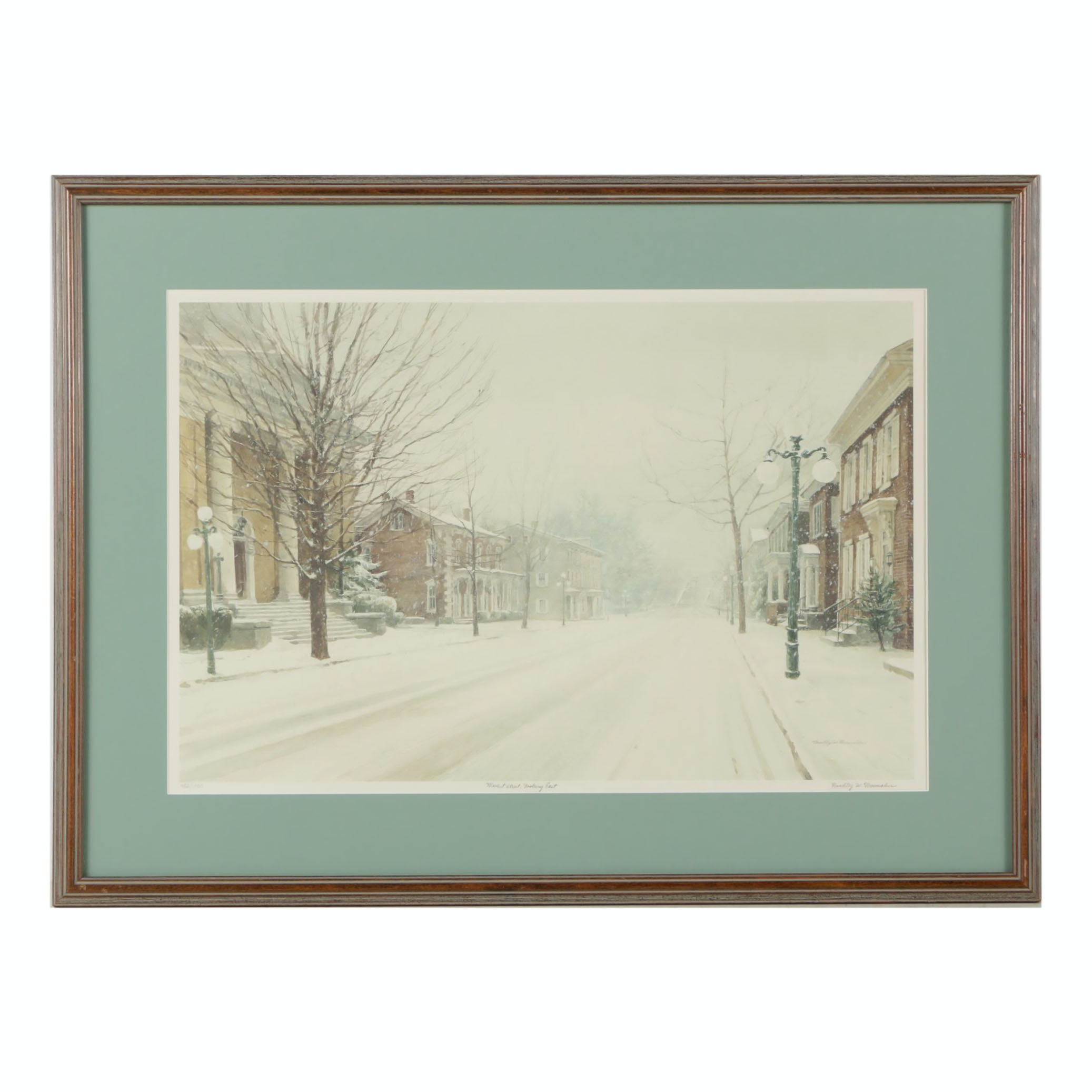 "Bradley W. Shoemaker Offset Lithograph ""Market Street, Looking East"""