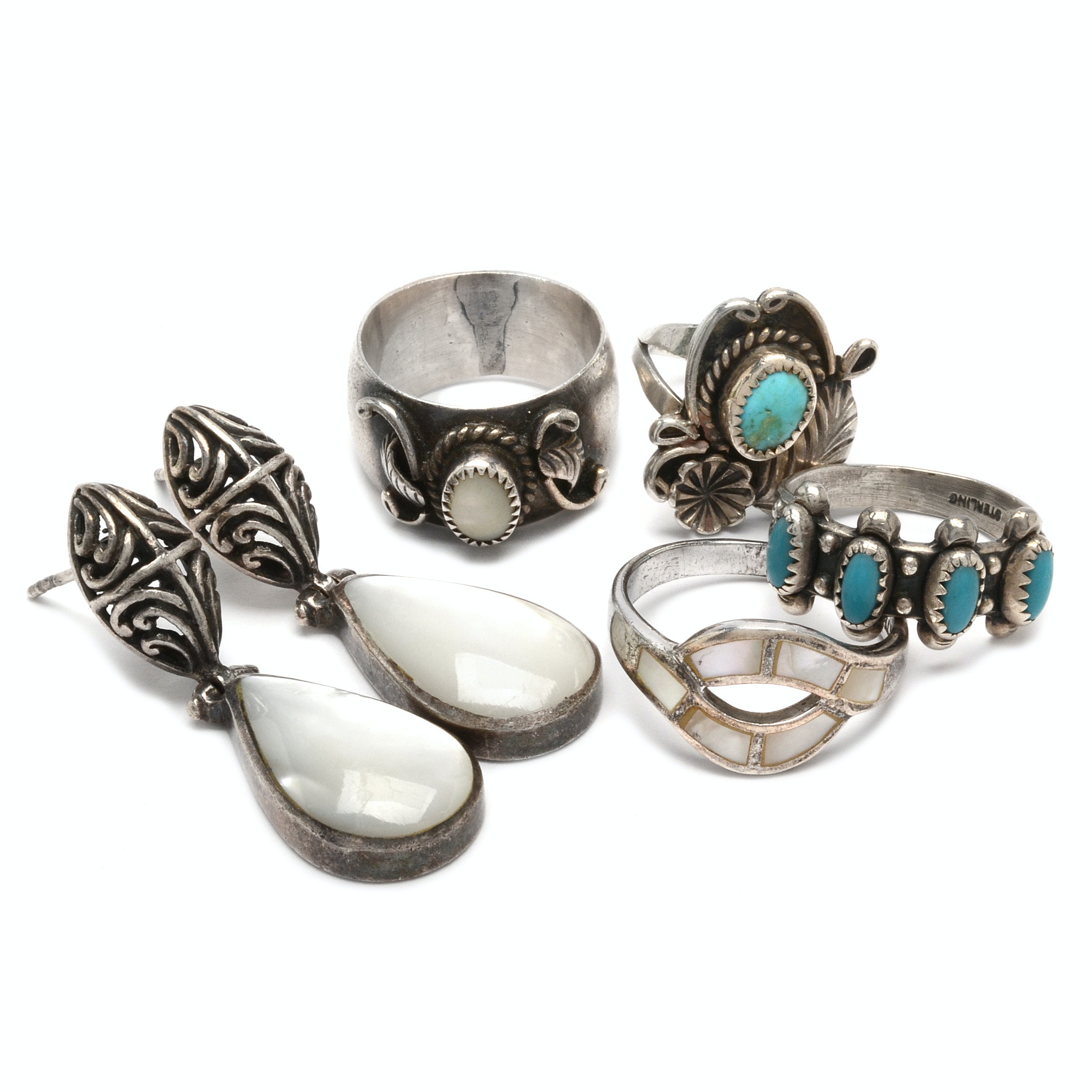 Assortment of Turquoise and Mother of Pear Jewelry