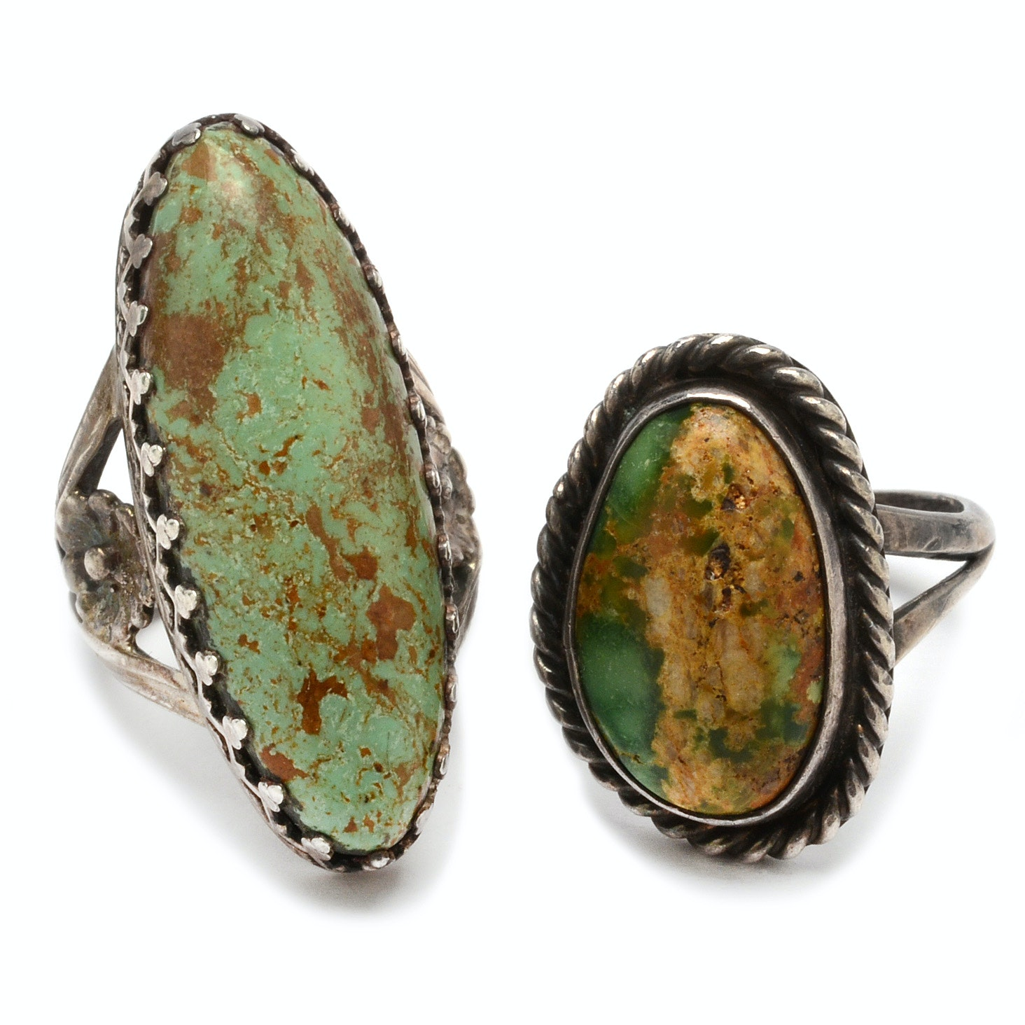 Sterling Silver Green Turquoise Fashion Rings