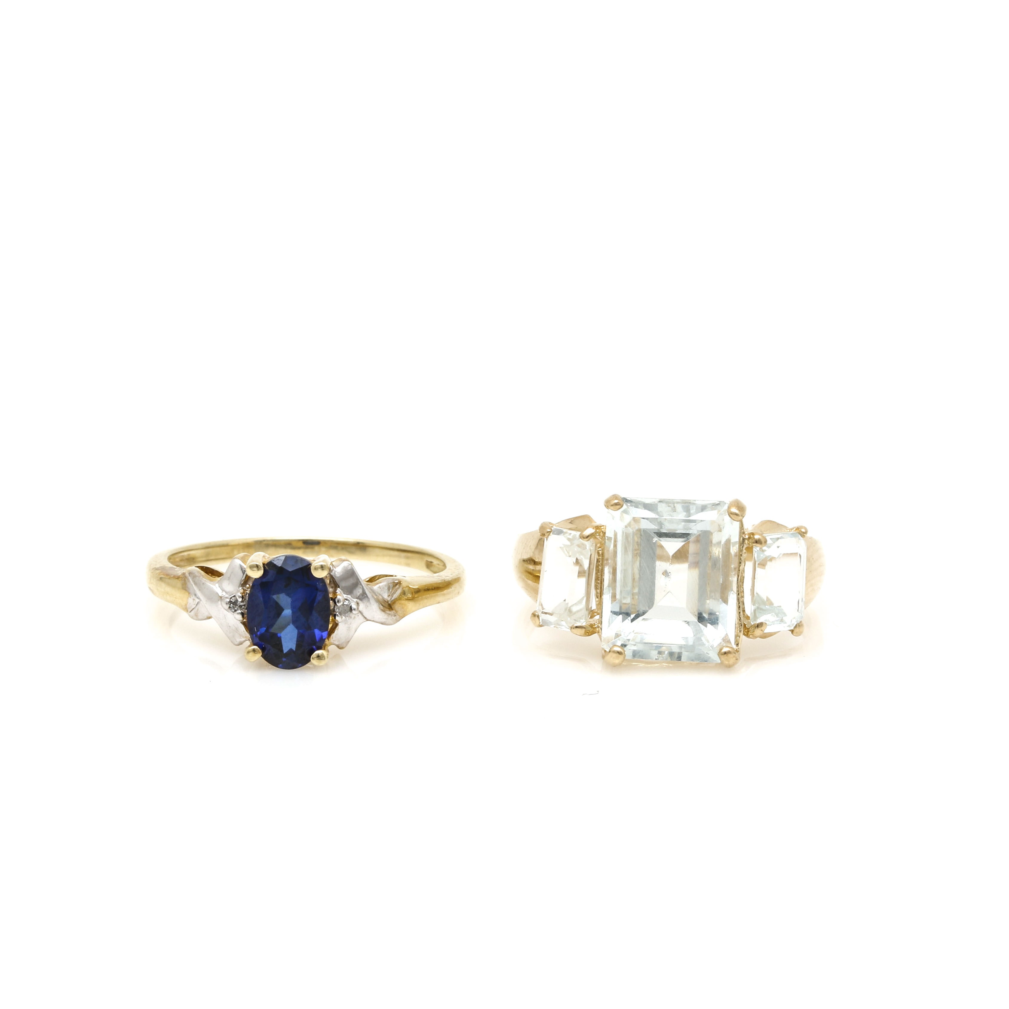 10K Yellow Gold Rings Including Aquamarine, Synthetic Sapphire, and Diamonds