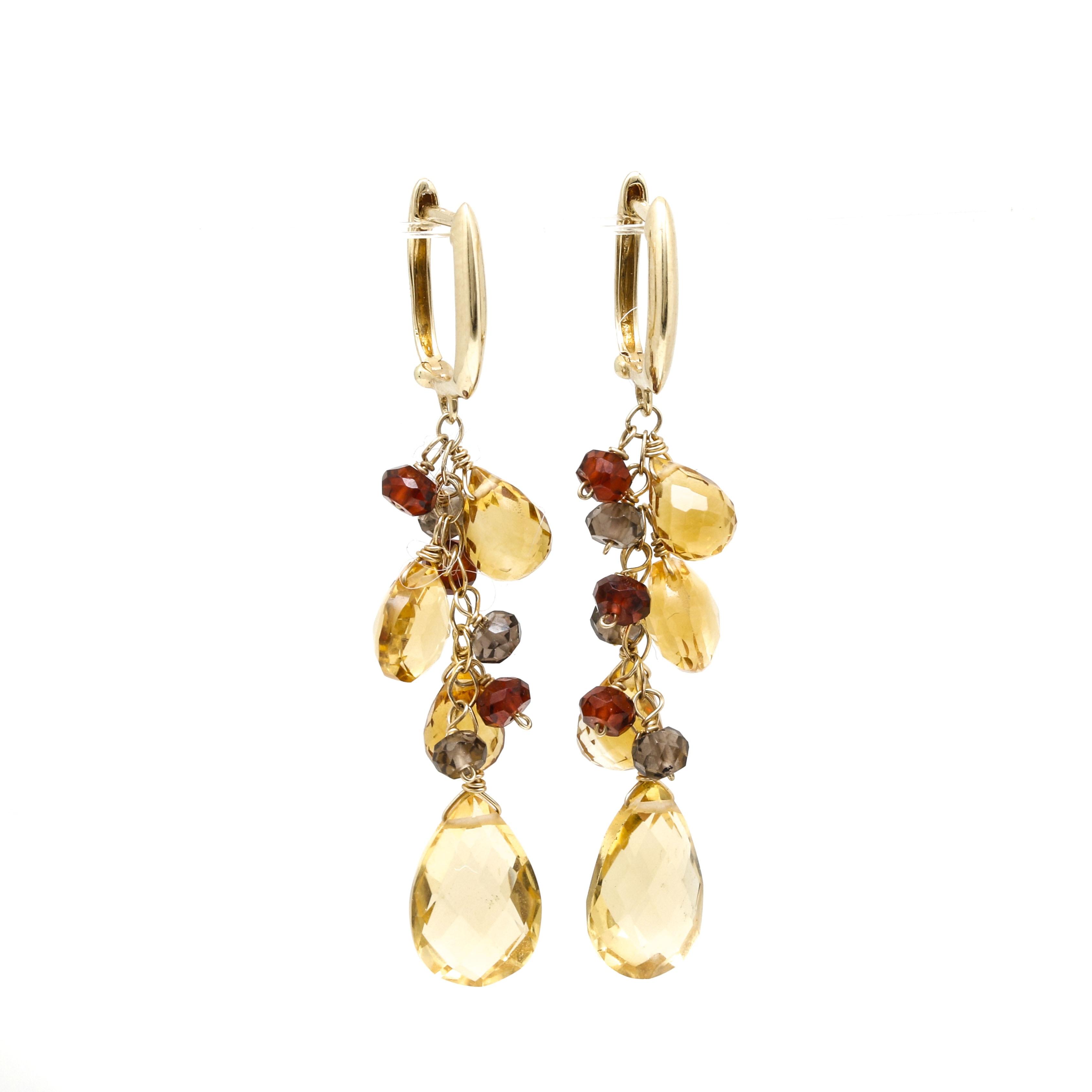 14K Yellow Gold Citrine and Smoky Quartz Drop Earrings