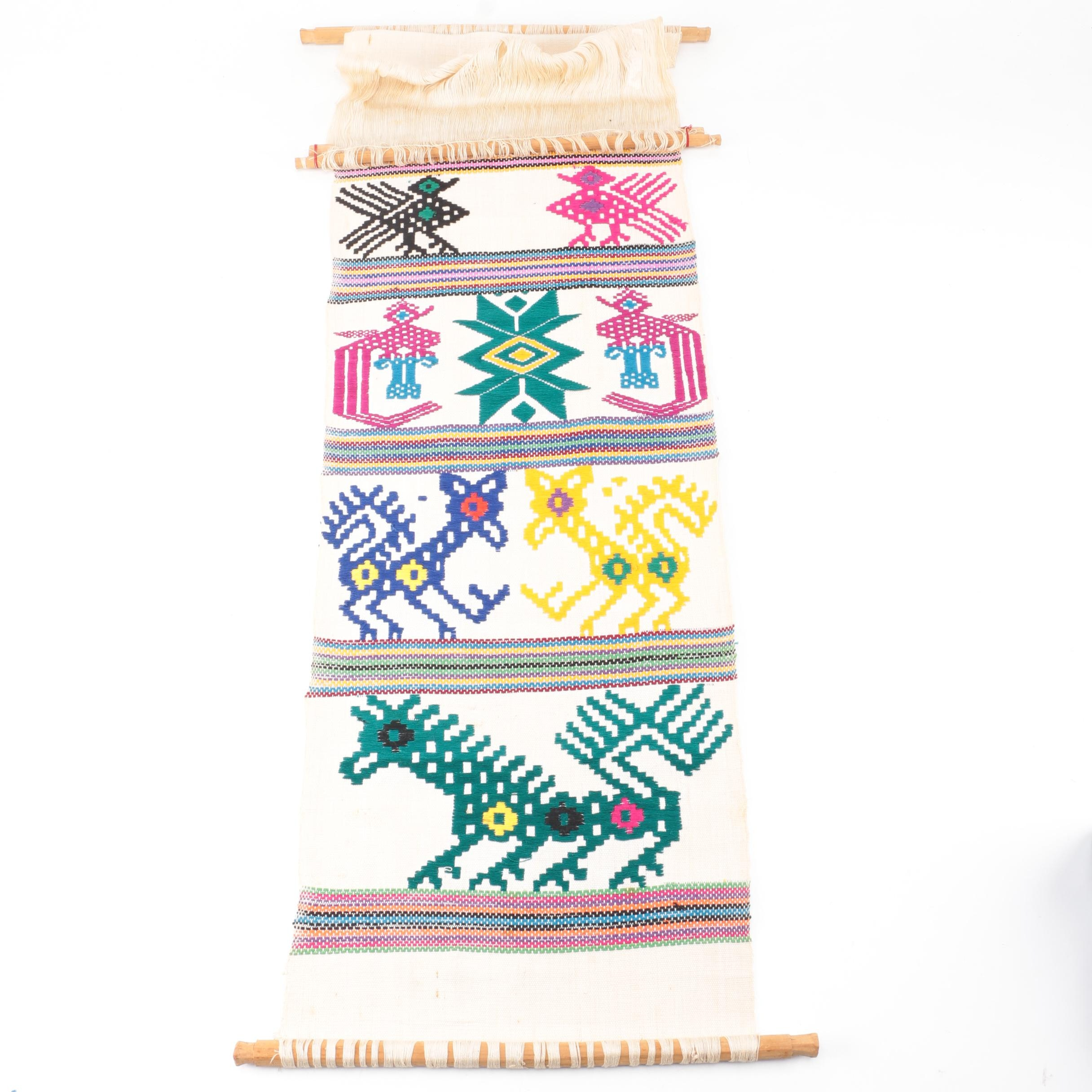Handwoven Central American Textile on a Backstrap Loom