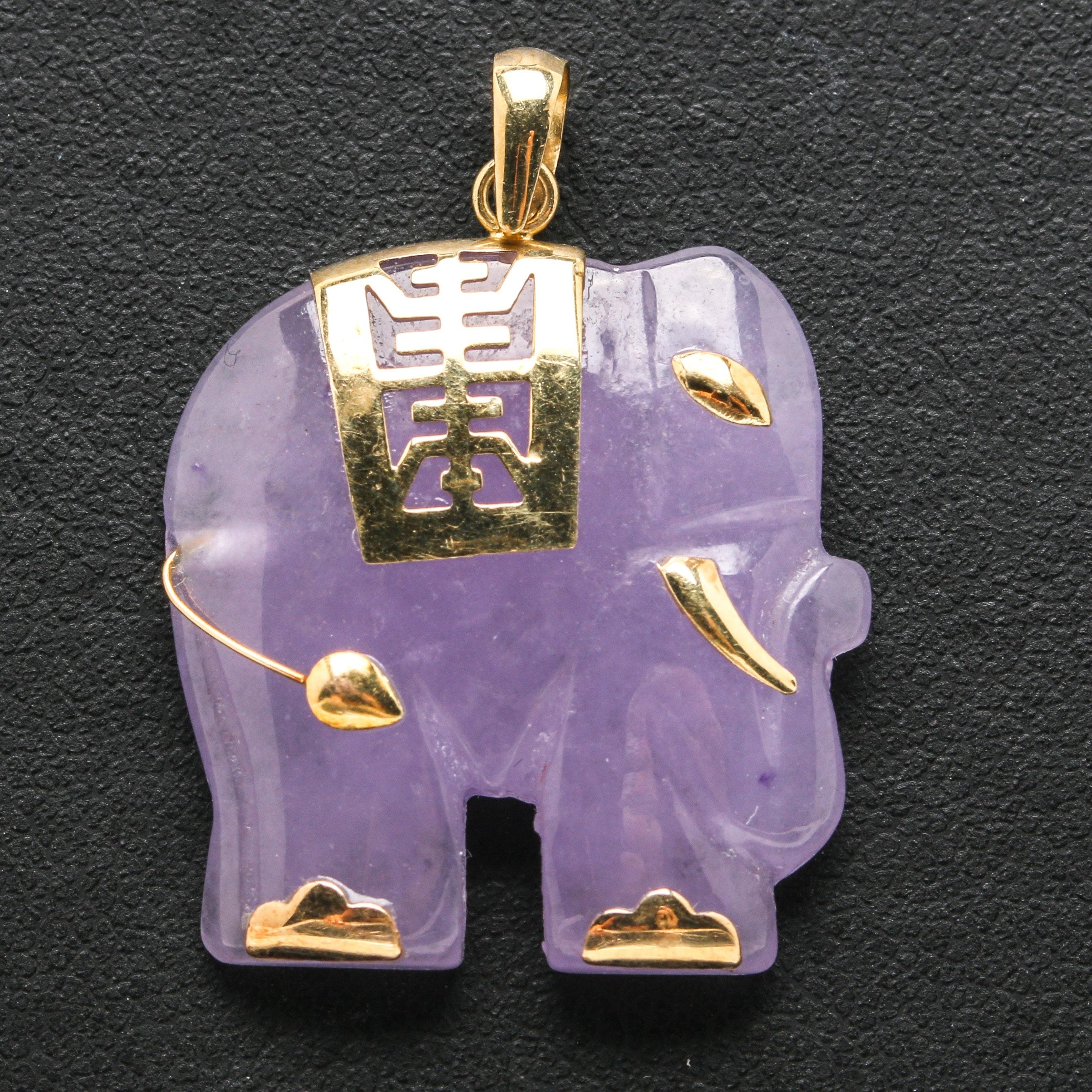 14K Yellow Gold Elephant Jadeite Pendant