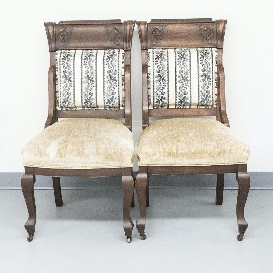 Pair of Vintage Victorian Style Side Chairs ... - Pair Of Vintage Victorian Style Side Chairs : EBTH