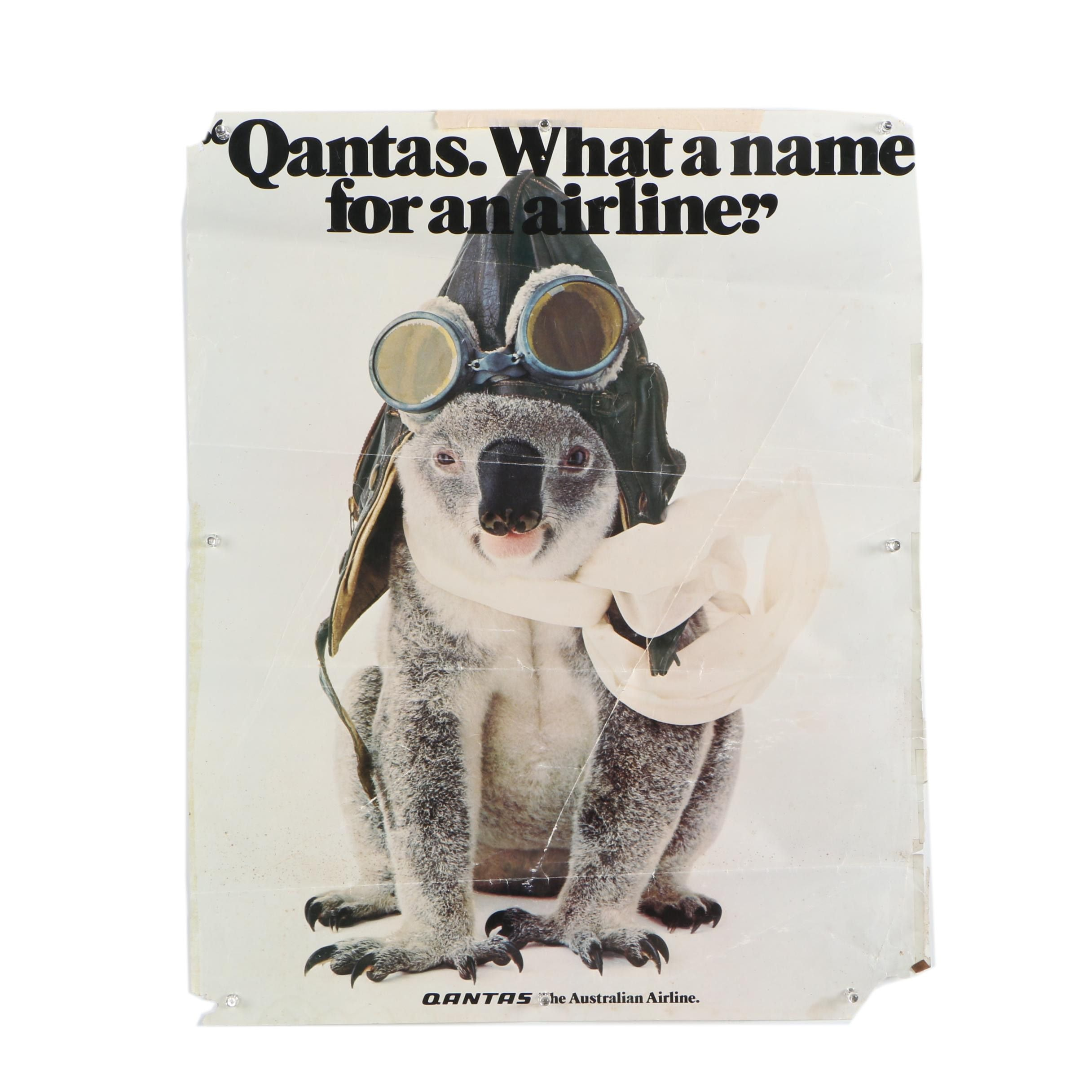 "Offset Lithograph Poster ""Qantas. What a name for an airline."""
