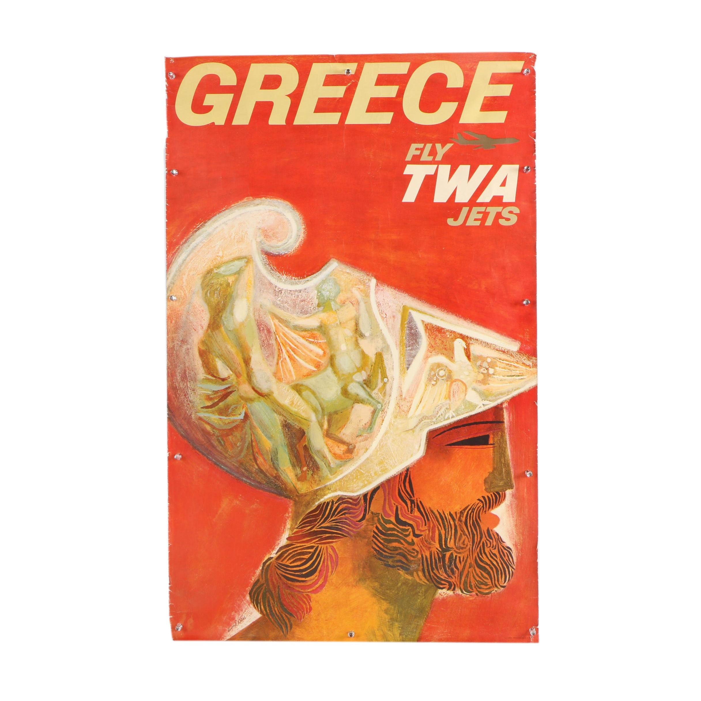 "Offset Lithograph Poster After David Klein ""Greece, Fly TWA Jets"""