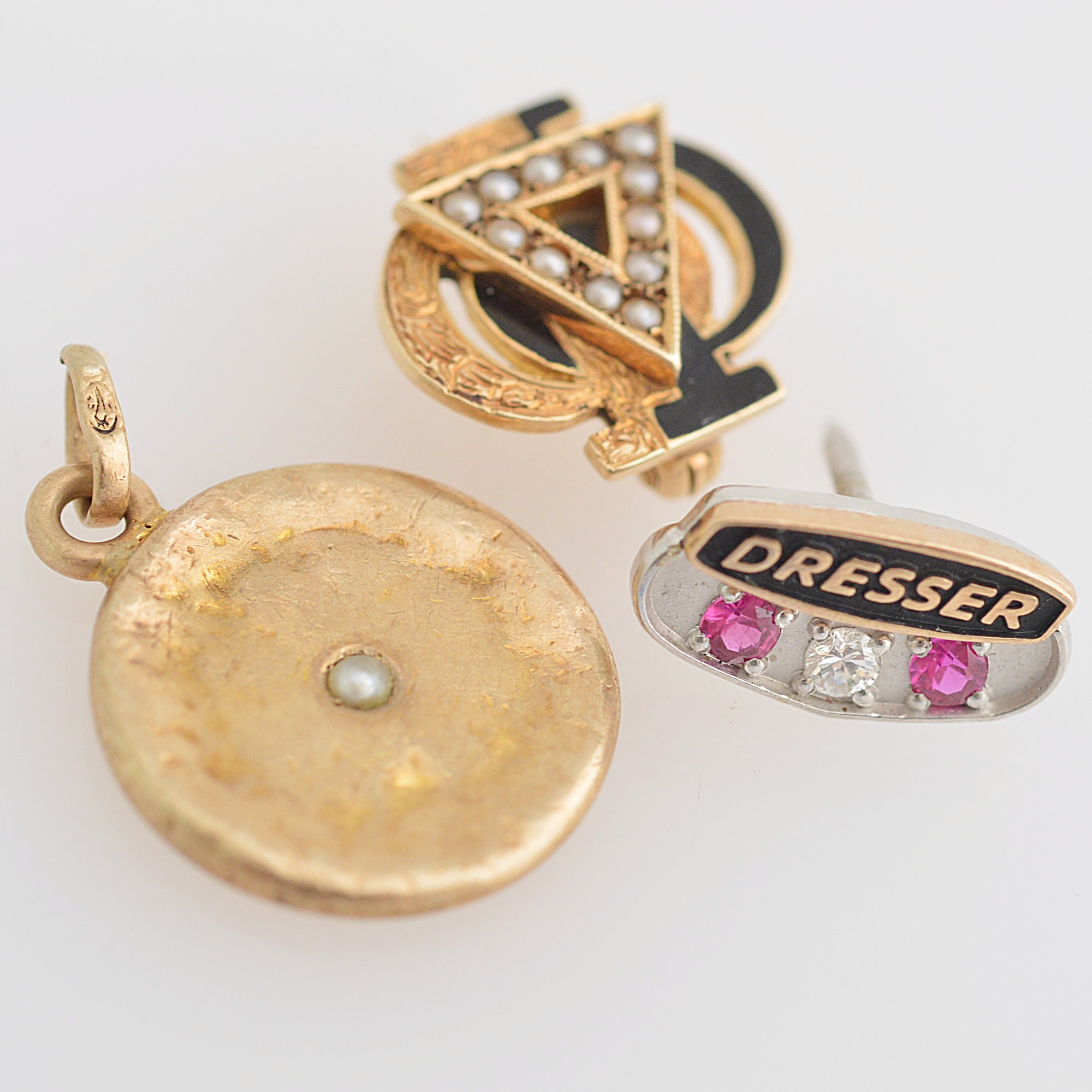 Vintage 10K and 14K Gold, Synthetic Ruby, Diamond Pendant and Pins