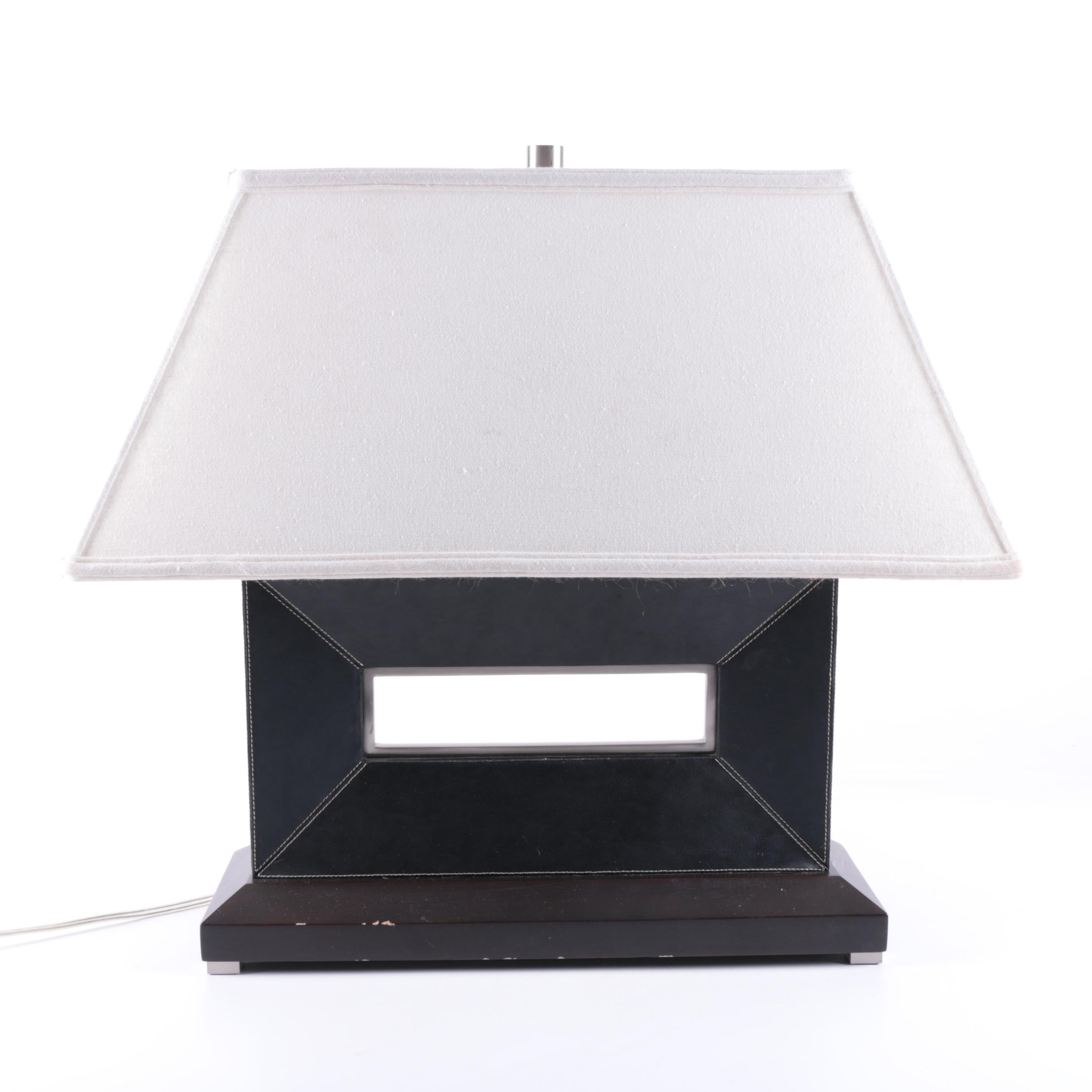 Contemporary Style Leather Table Lamp