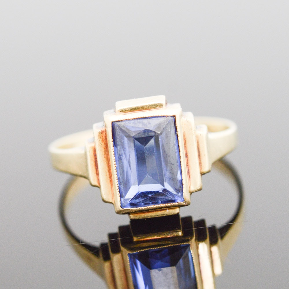 14K Yellow Gold and Synthetic Sapphire Ring