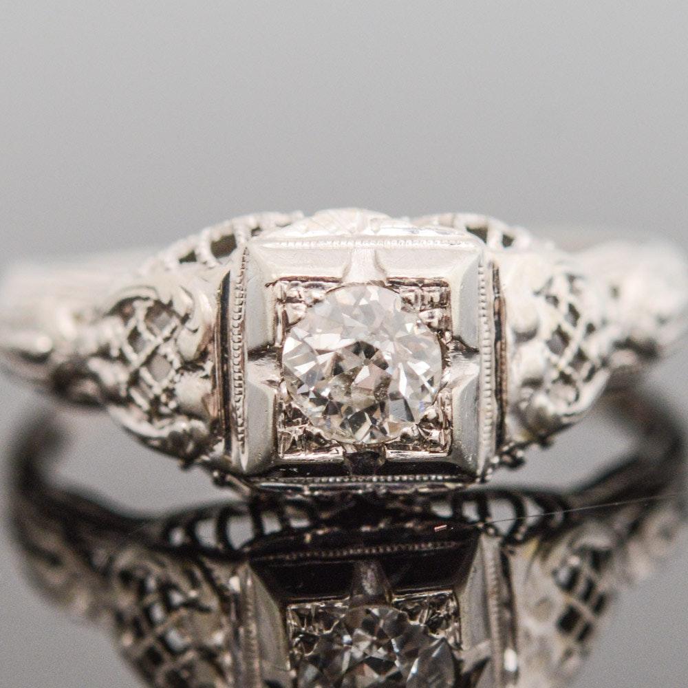 Late Edwardian 14K White Gold and Diamond Ring
