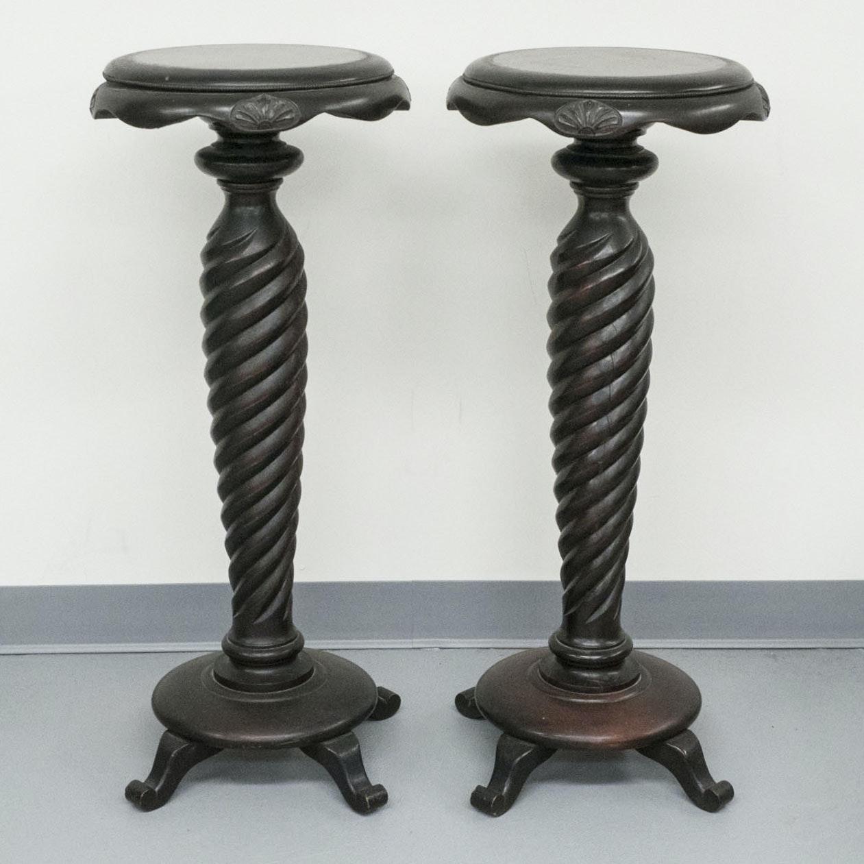 Vintage Barley Twist Pedestal Stands