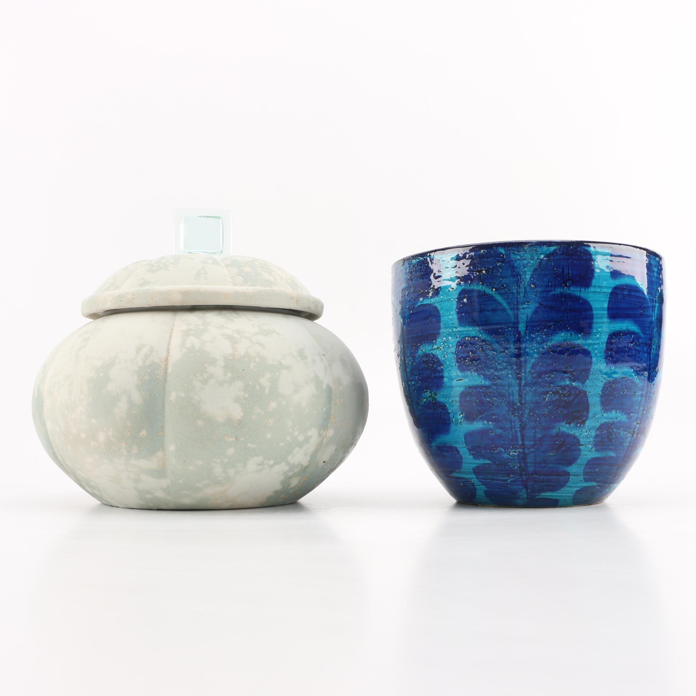 Vintage Bitossi Vase and Raku Fired Gourd Vessel