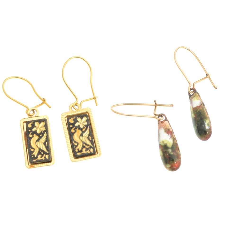 18K Yellow Gold Enameled Earrings