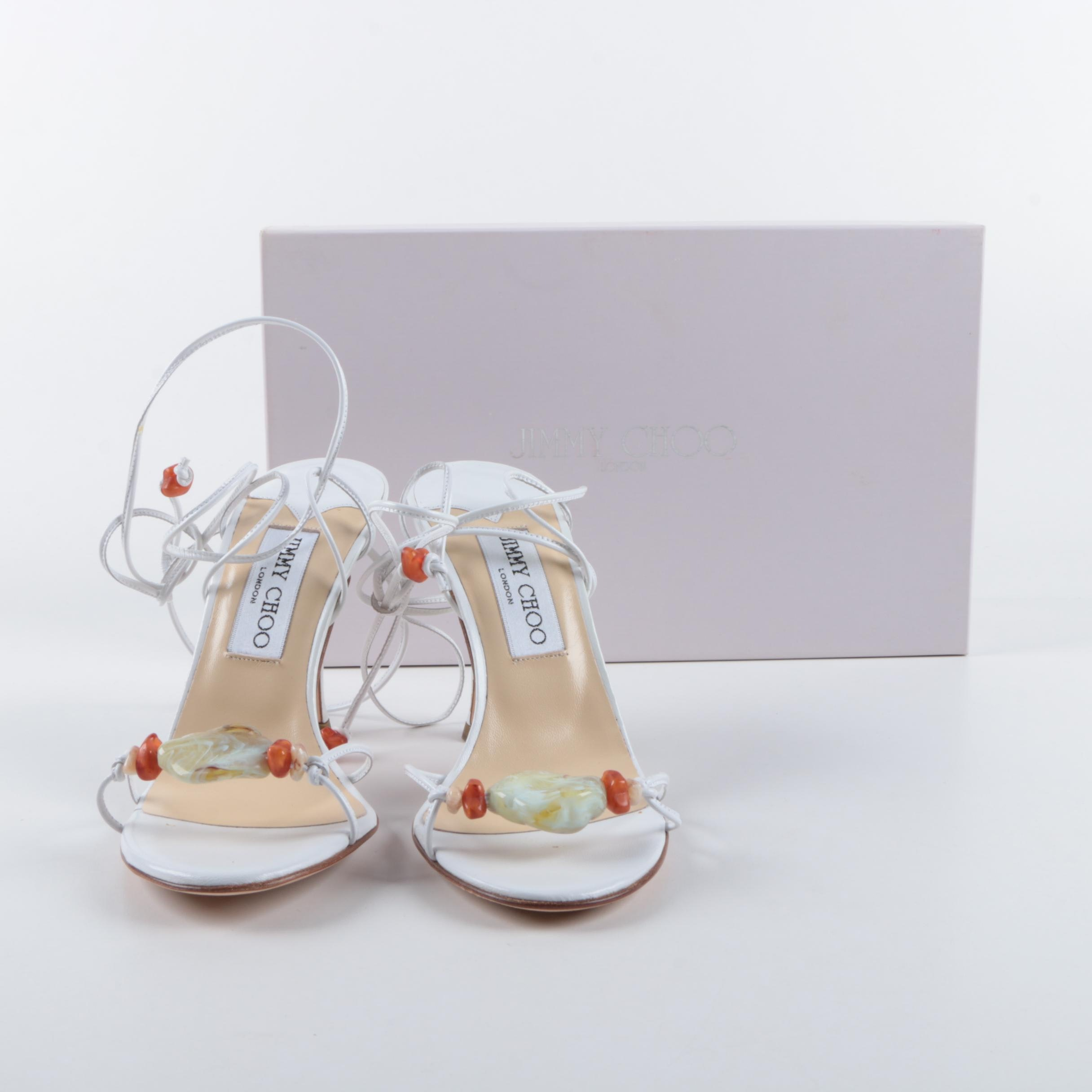 Jimmy Choo White Leather and Poured Glass Stone Strappy Sandals