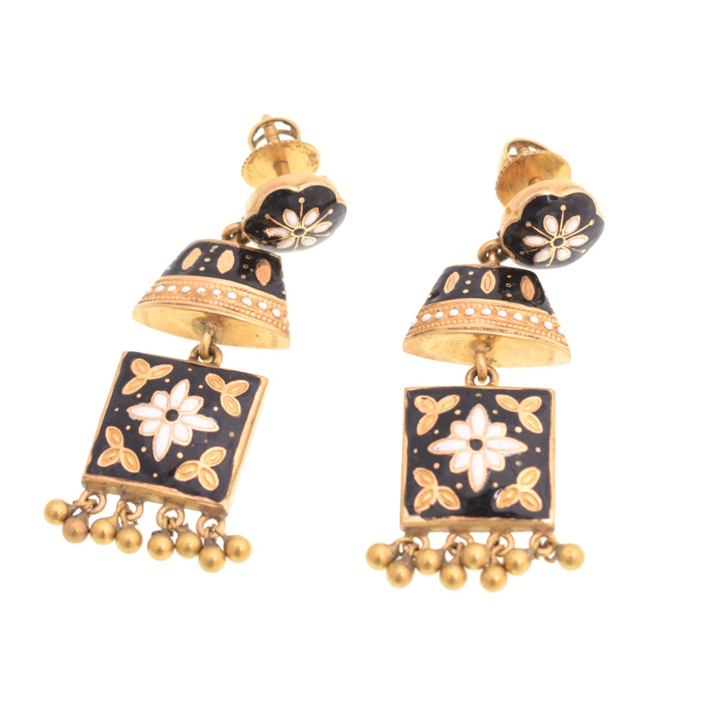 18K Yellow Gold Enamel Chandelier Earrings