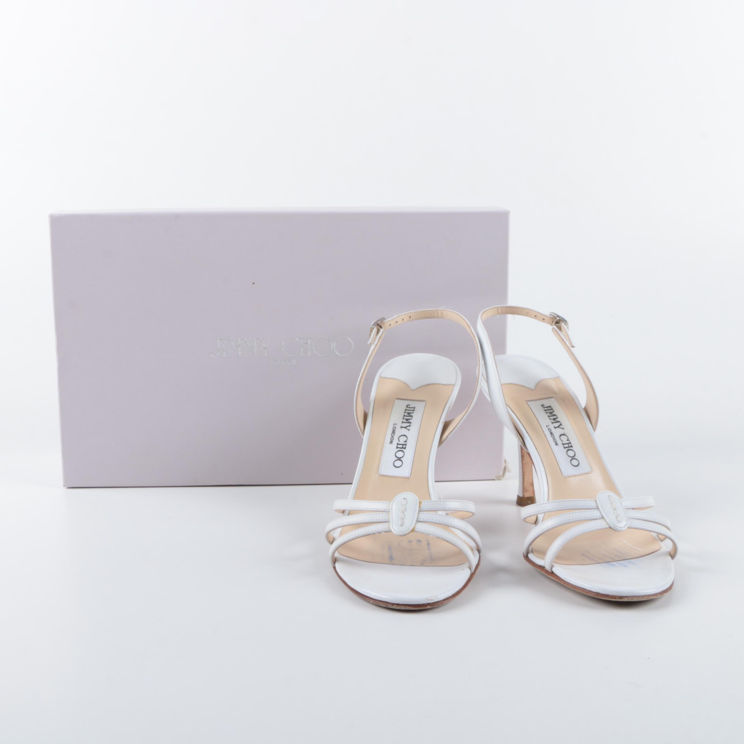 2005 Jimmy Choo White Leather Slingback Sandals In Original Box