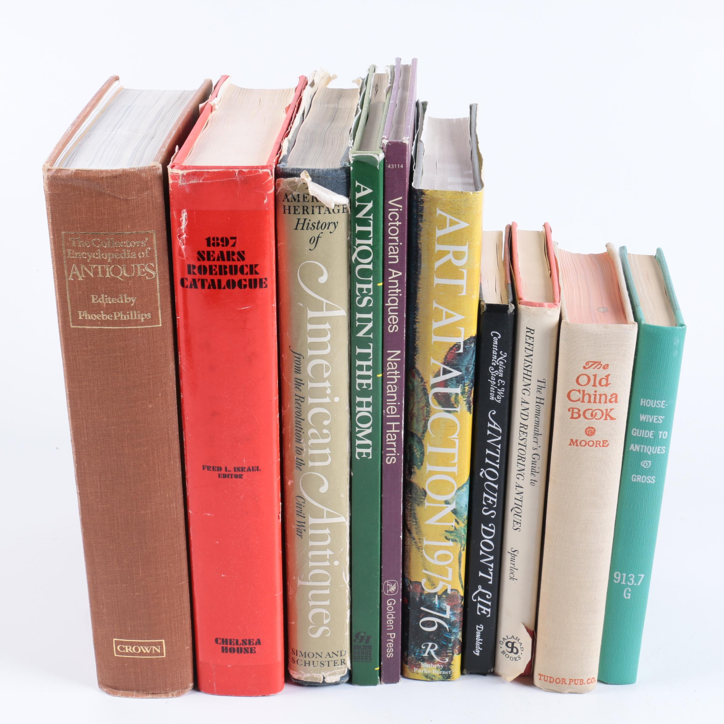 """Assorted Books on Antiques Including 1959 """"Housewives' Guide to Antiques"""""""