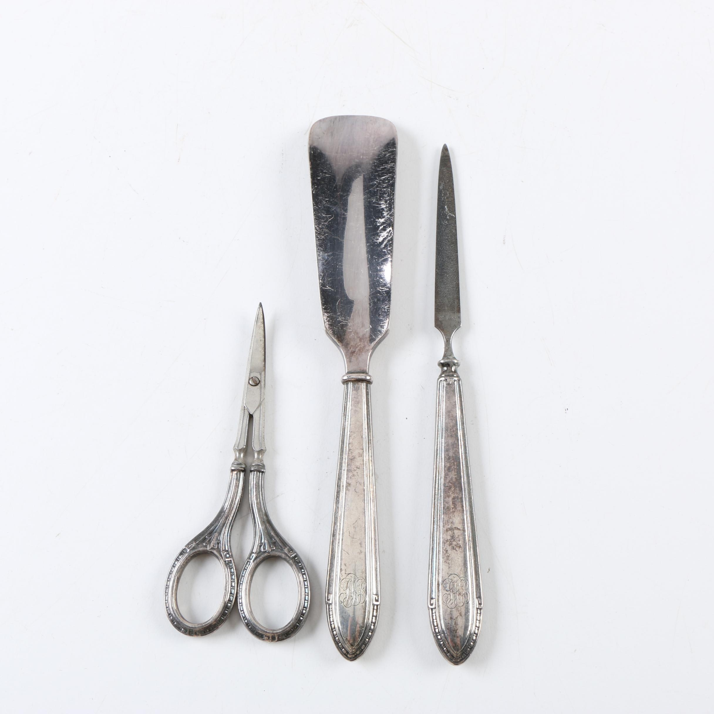 Silver Plate Shoe Horn and Other Vanity Tools