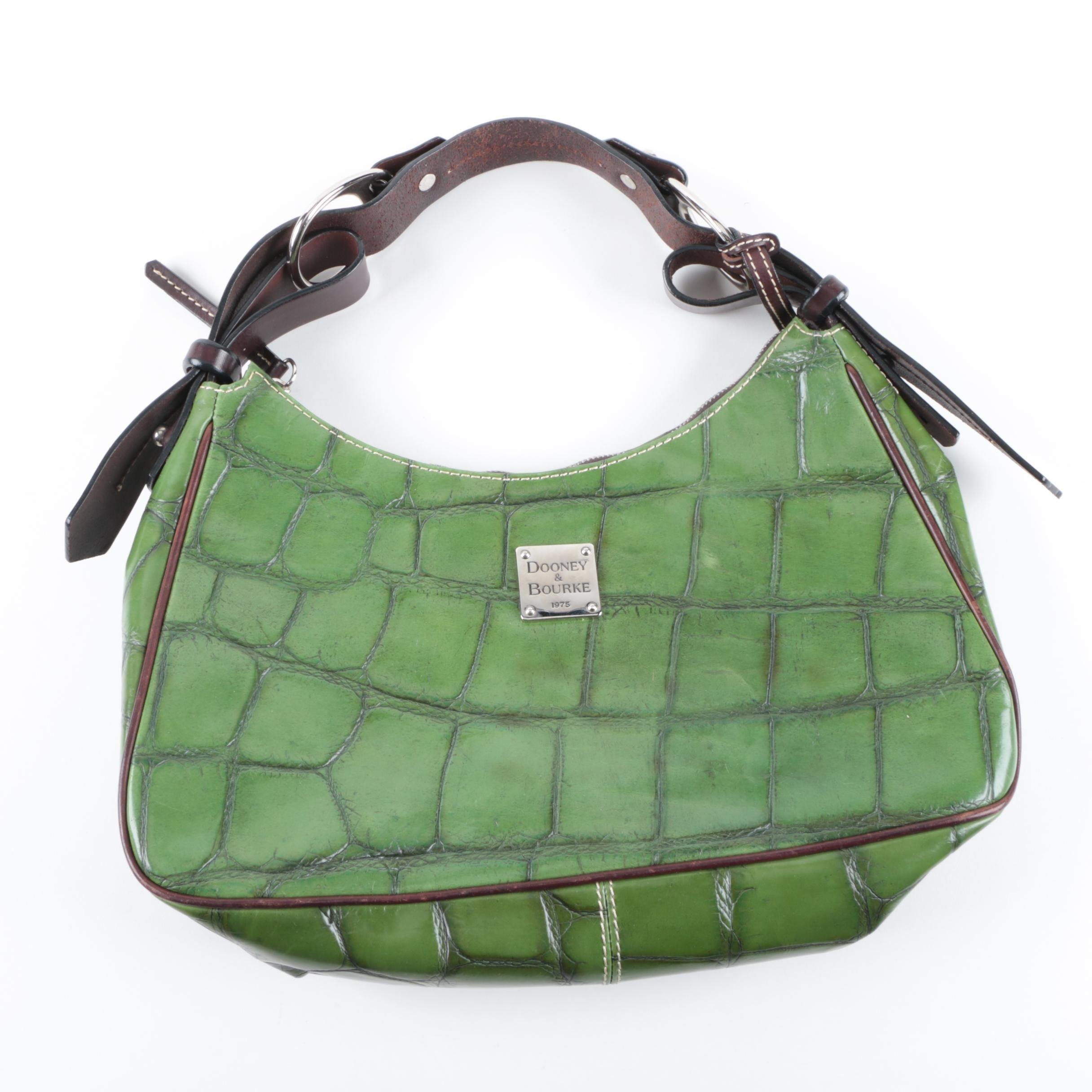 Dooney and Bourke Crocodile Embossed Green Leather Handbag