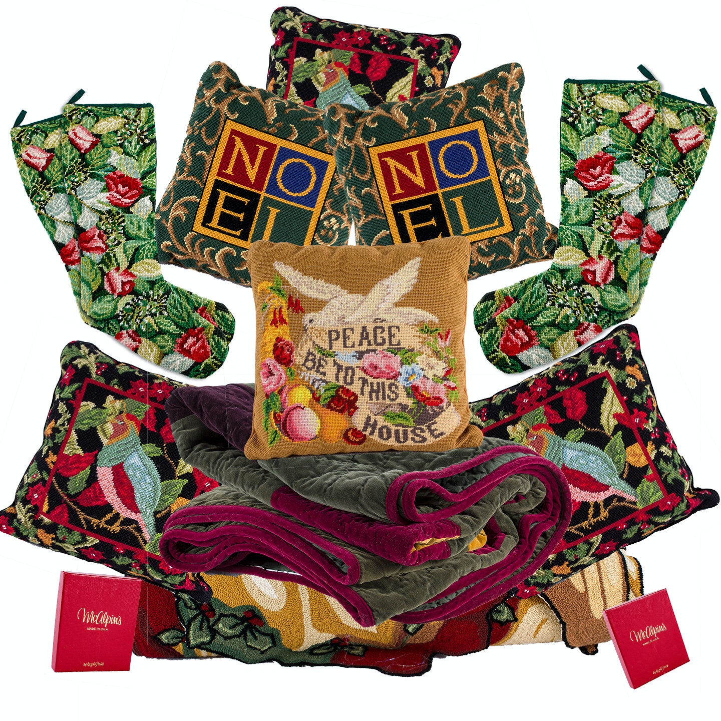 Needlepoint Textiles, Ornaments and Holiday Decor