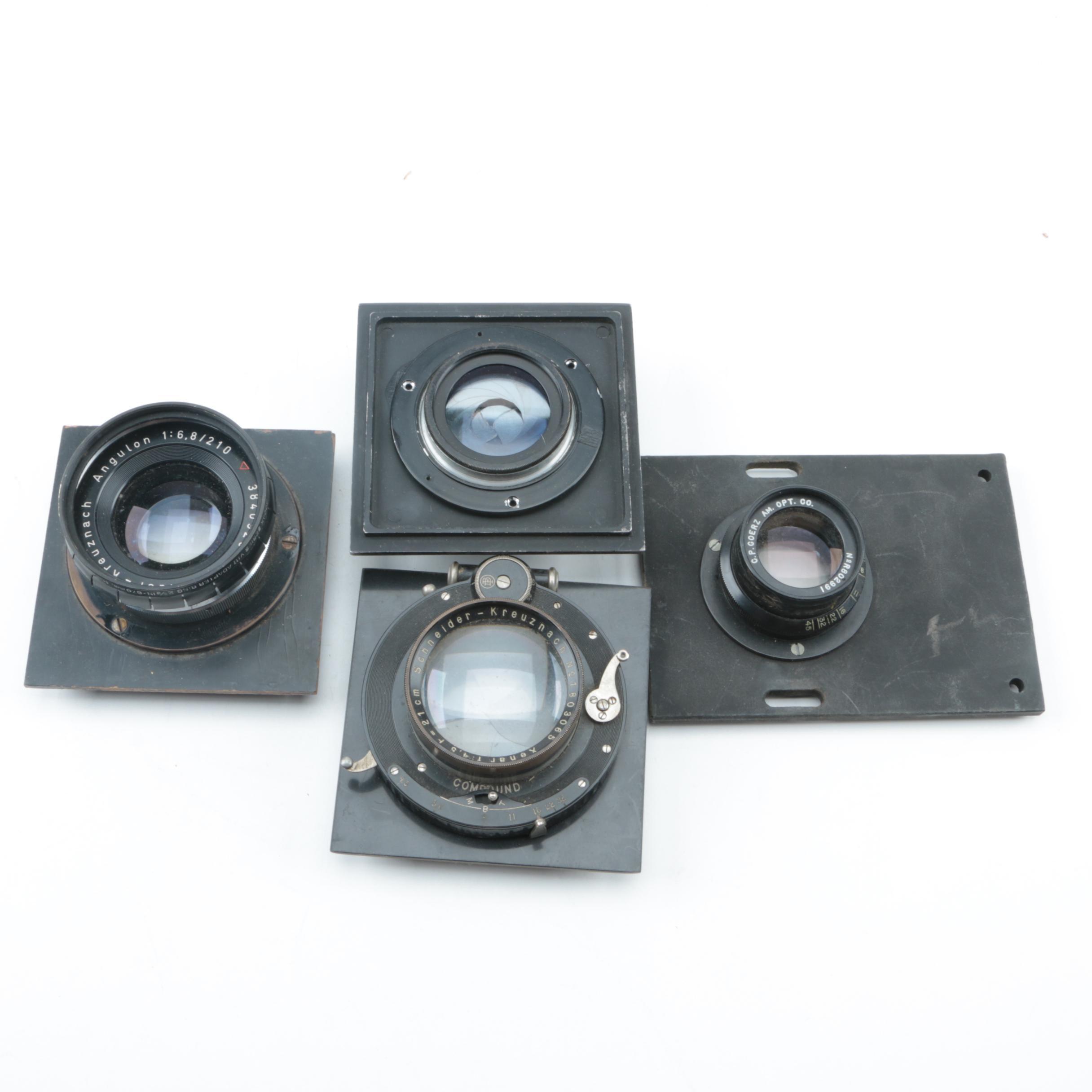Vintage Large Format Camera Lenses Featuring Schneider-Kreuznach