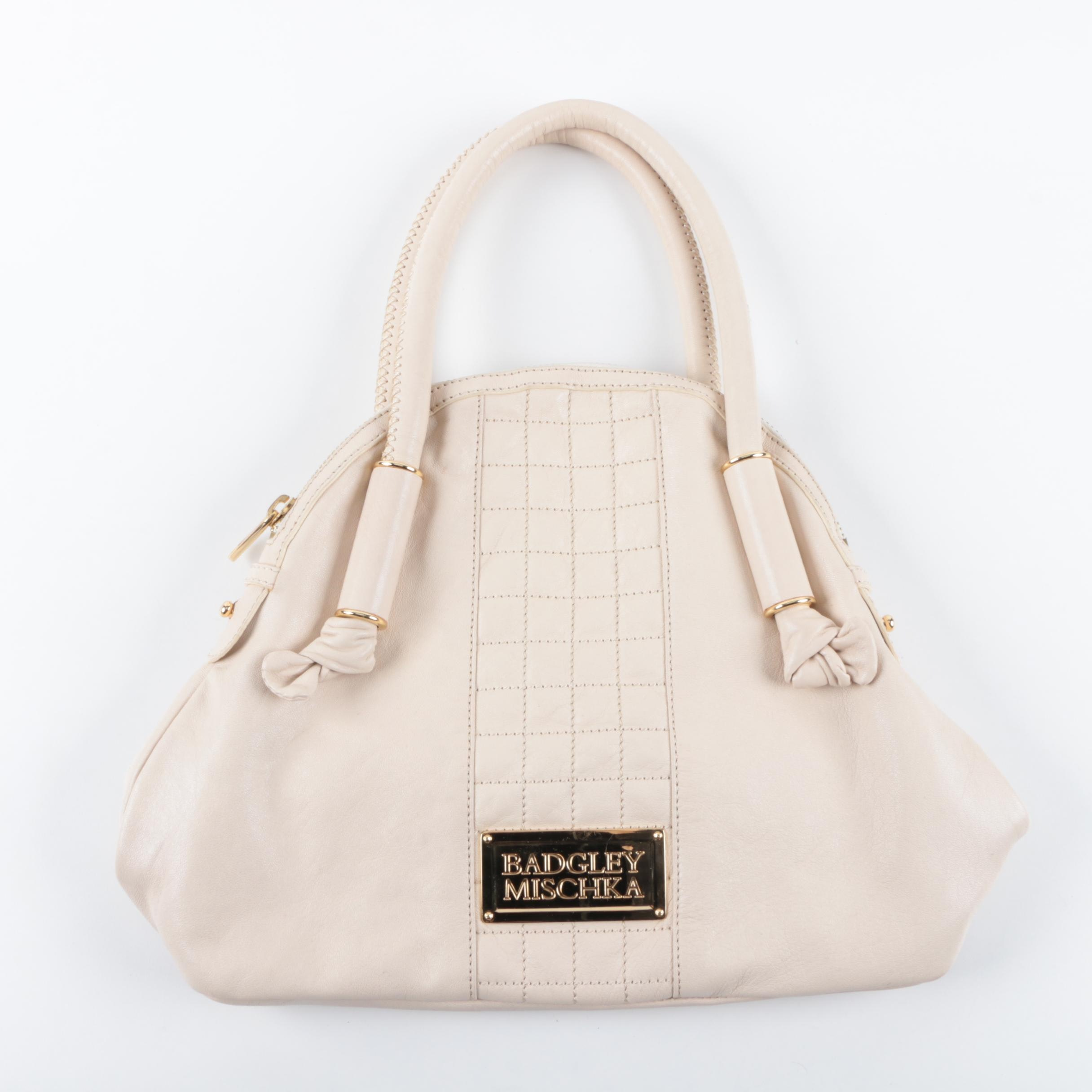 Badgley Mischka Quilted Cream Leather Handbag
