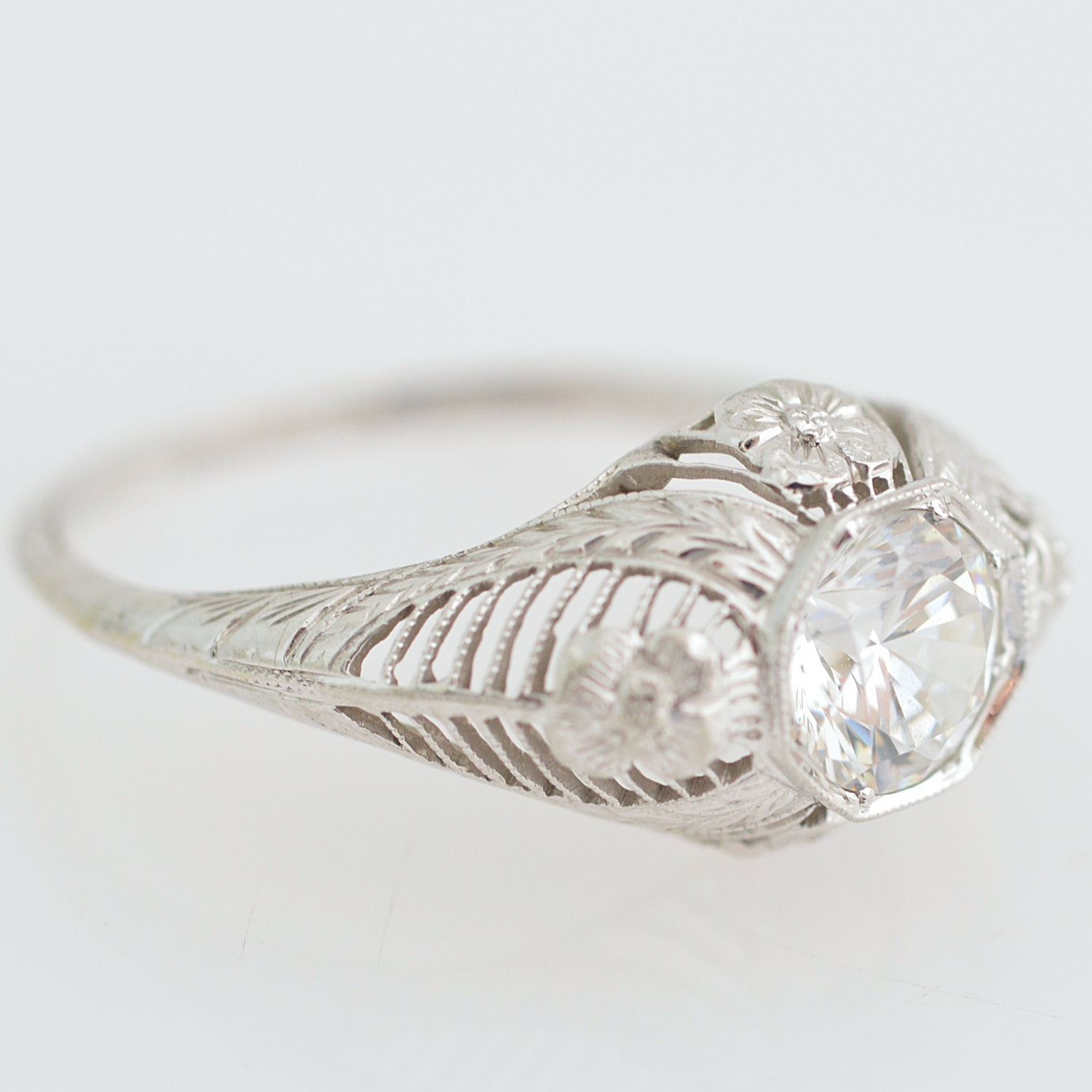 Belais 18K White Gold and CZ Ring