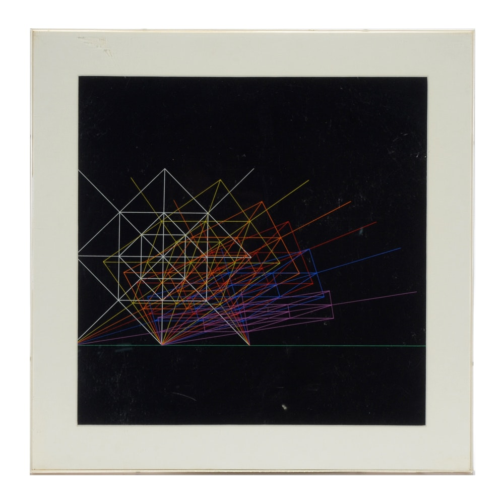 Karel Novosad  Vintage Serigraph on Paper of Geometric Forms