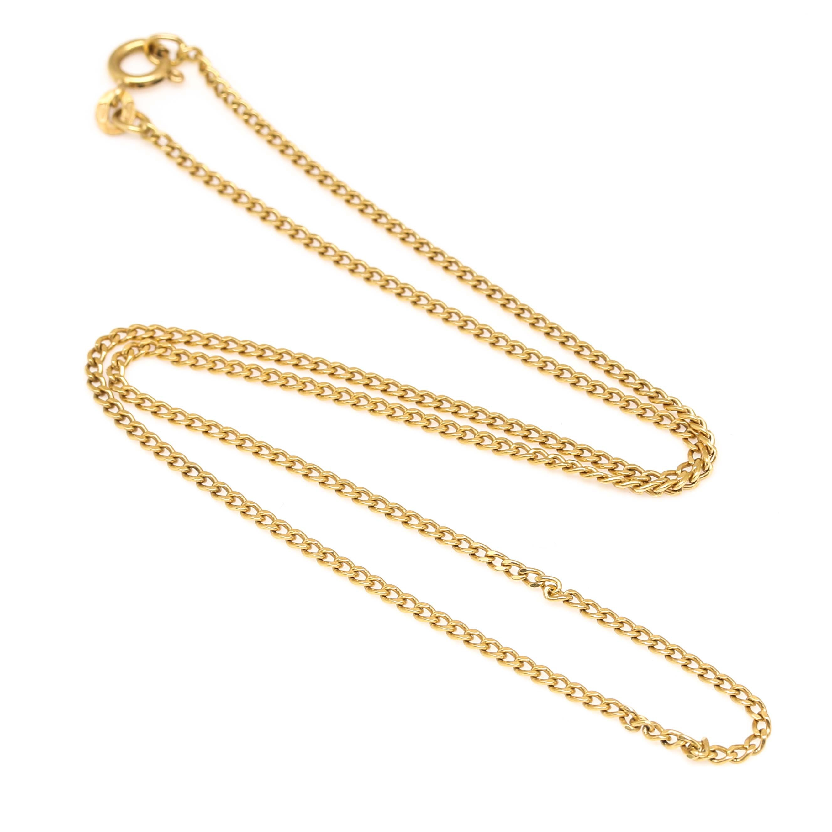 18K Yellow Gold Curb Chain Necklace