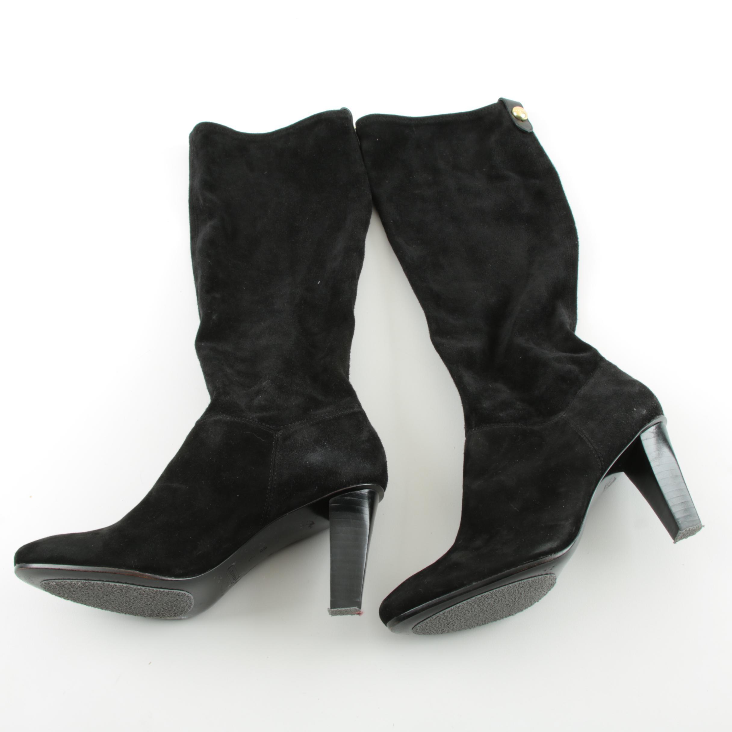 Coach Black Suede High Heel Boots