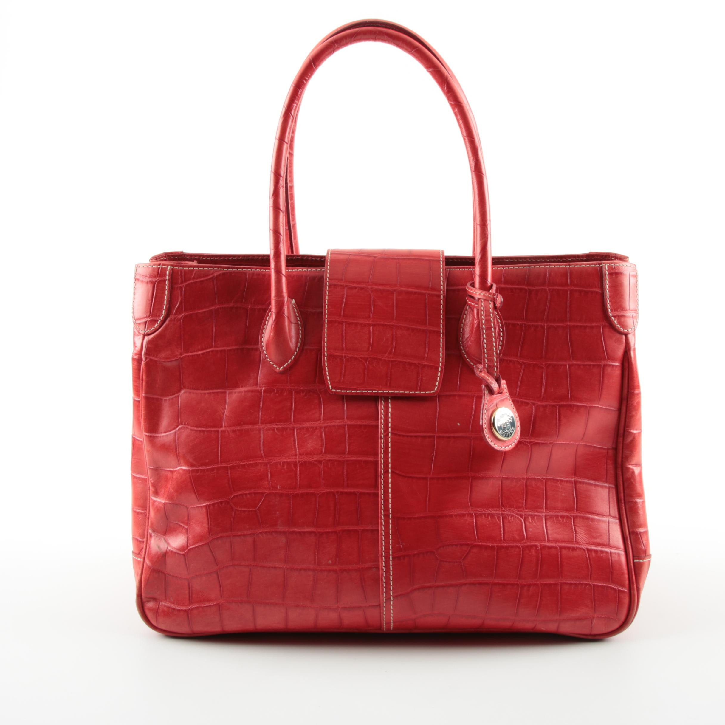 Dooney & Bourke Red Embossed Leather Handbag