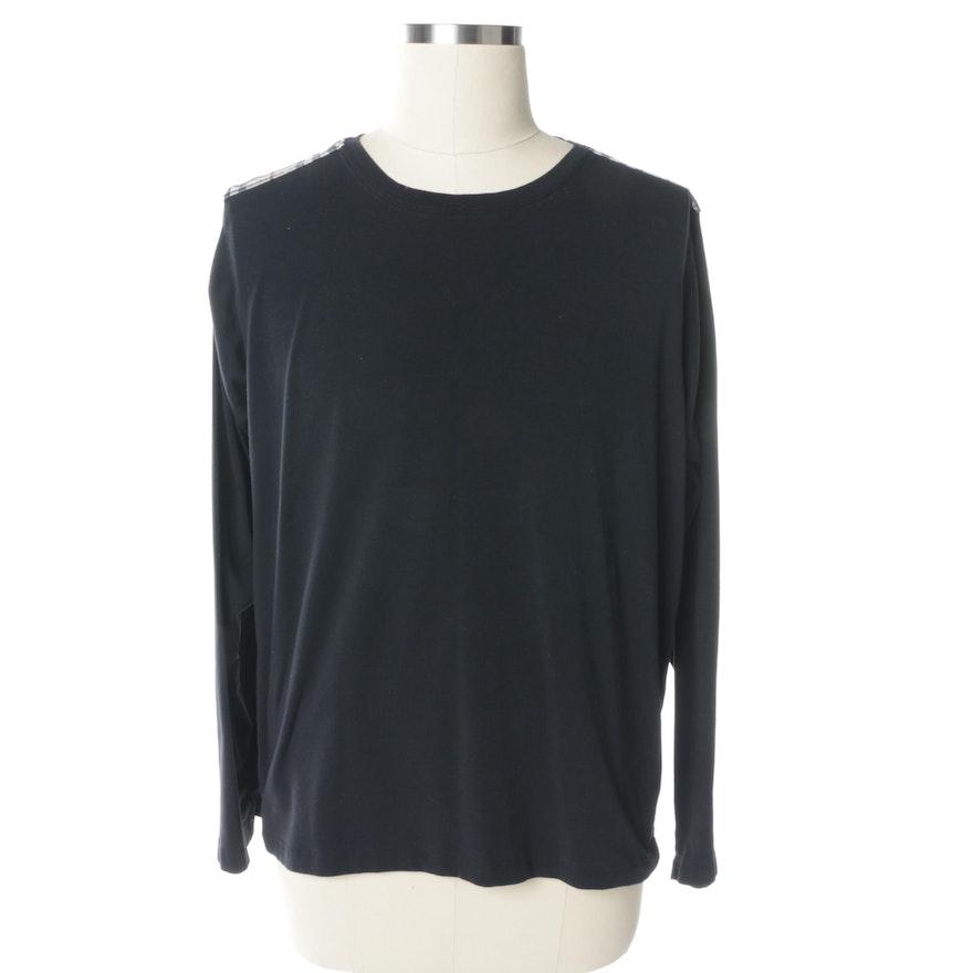 Men 39 S Burberry Black Long Sleeve Cotton T Shirt Ebth