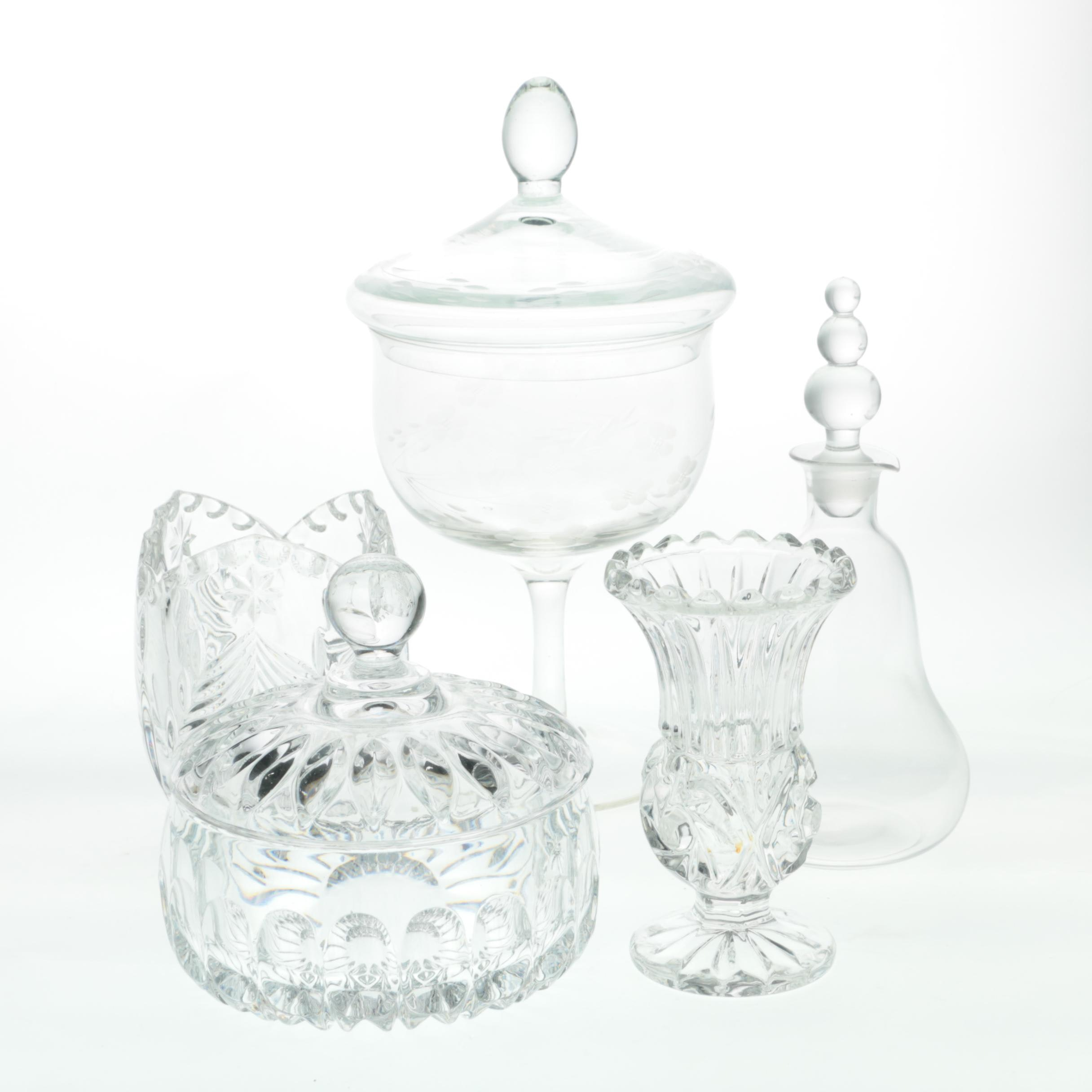 Vintage Cut Crystal and Clear Glass Assemblage