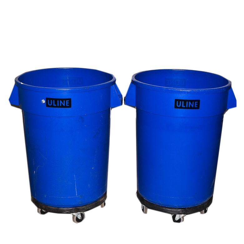Uline Industrial Trash Bins with Removable Dollies