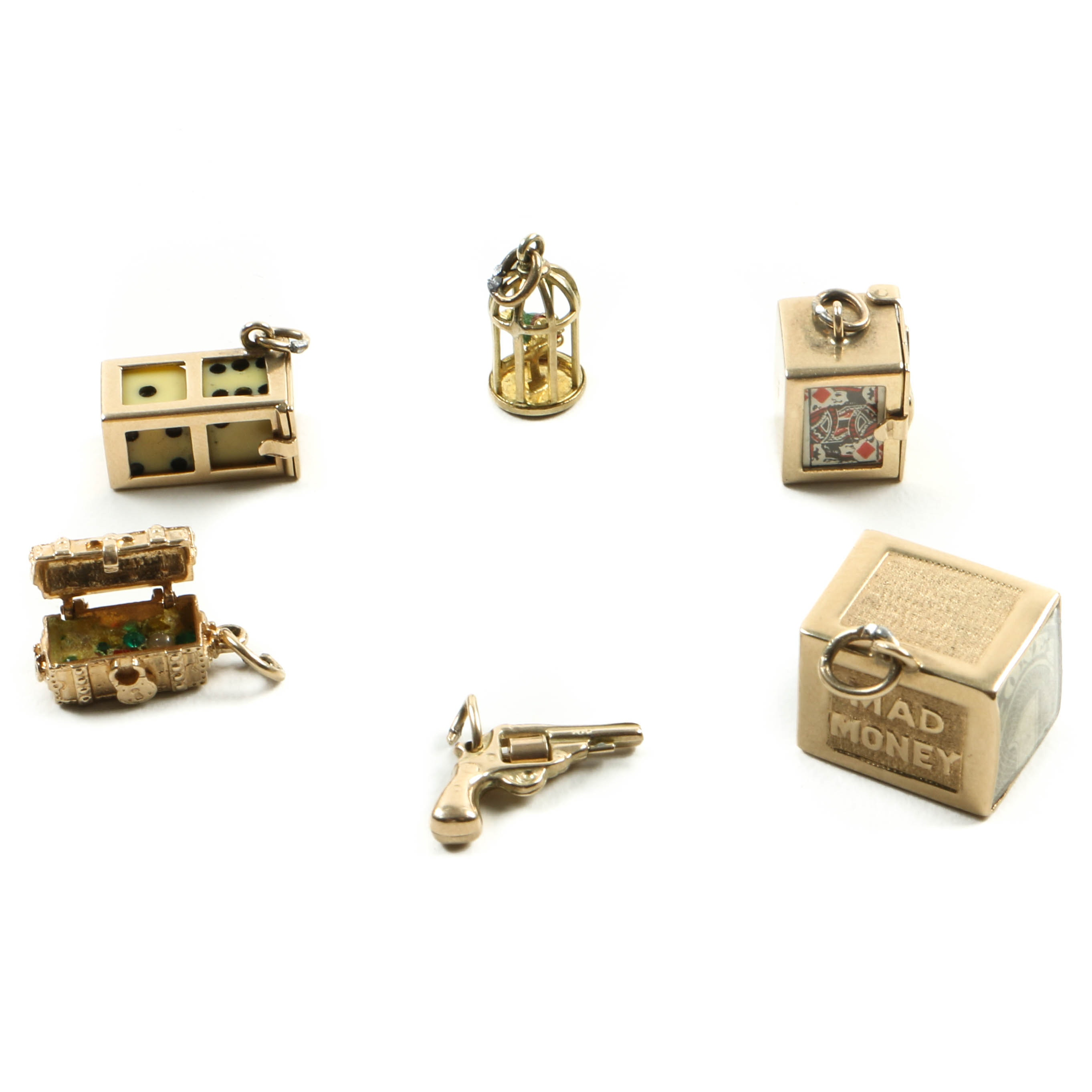 10K and 14K Yellow Gold Charms with Articulating Parts