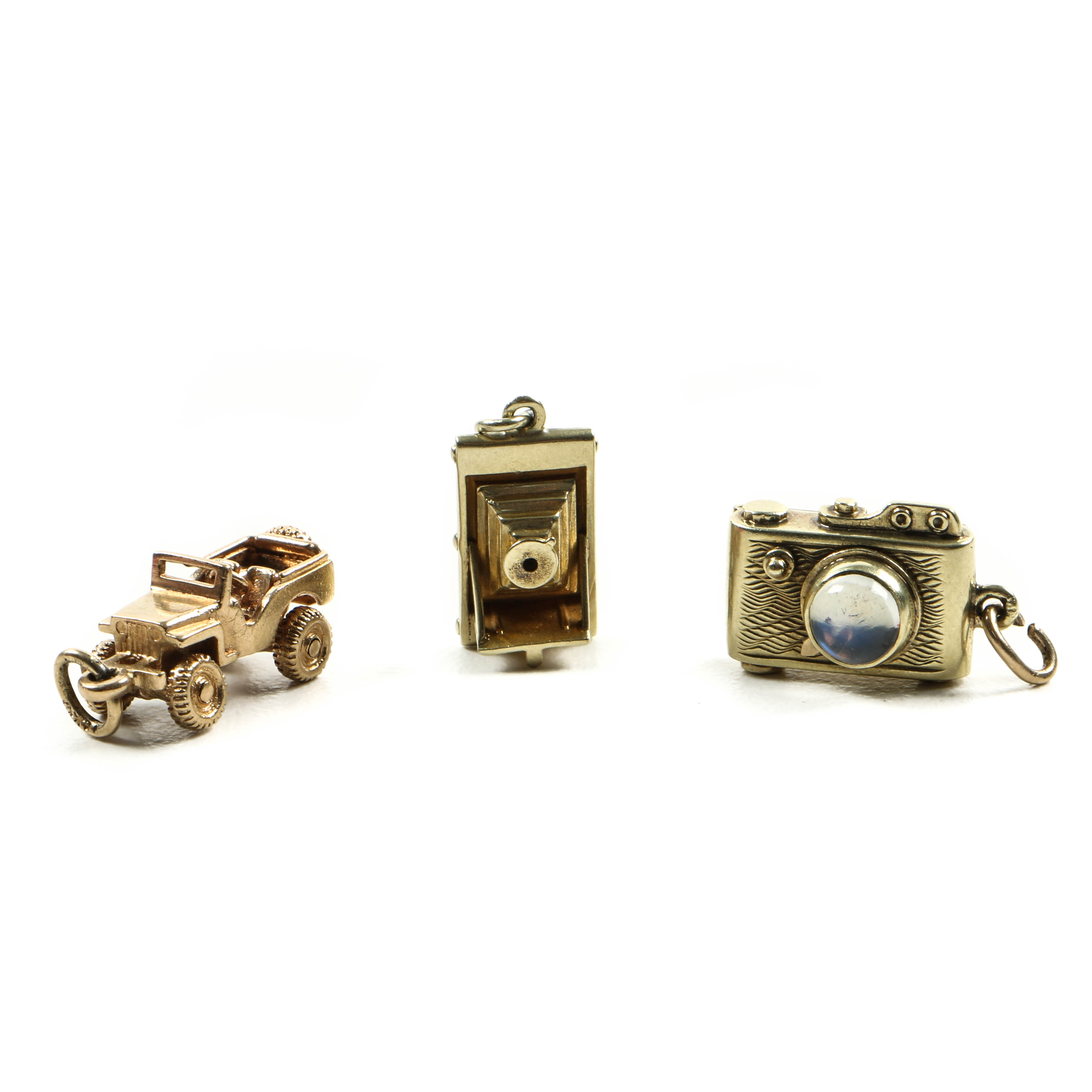 14K Yellow Gold Charms Including Moonstone Camera