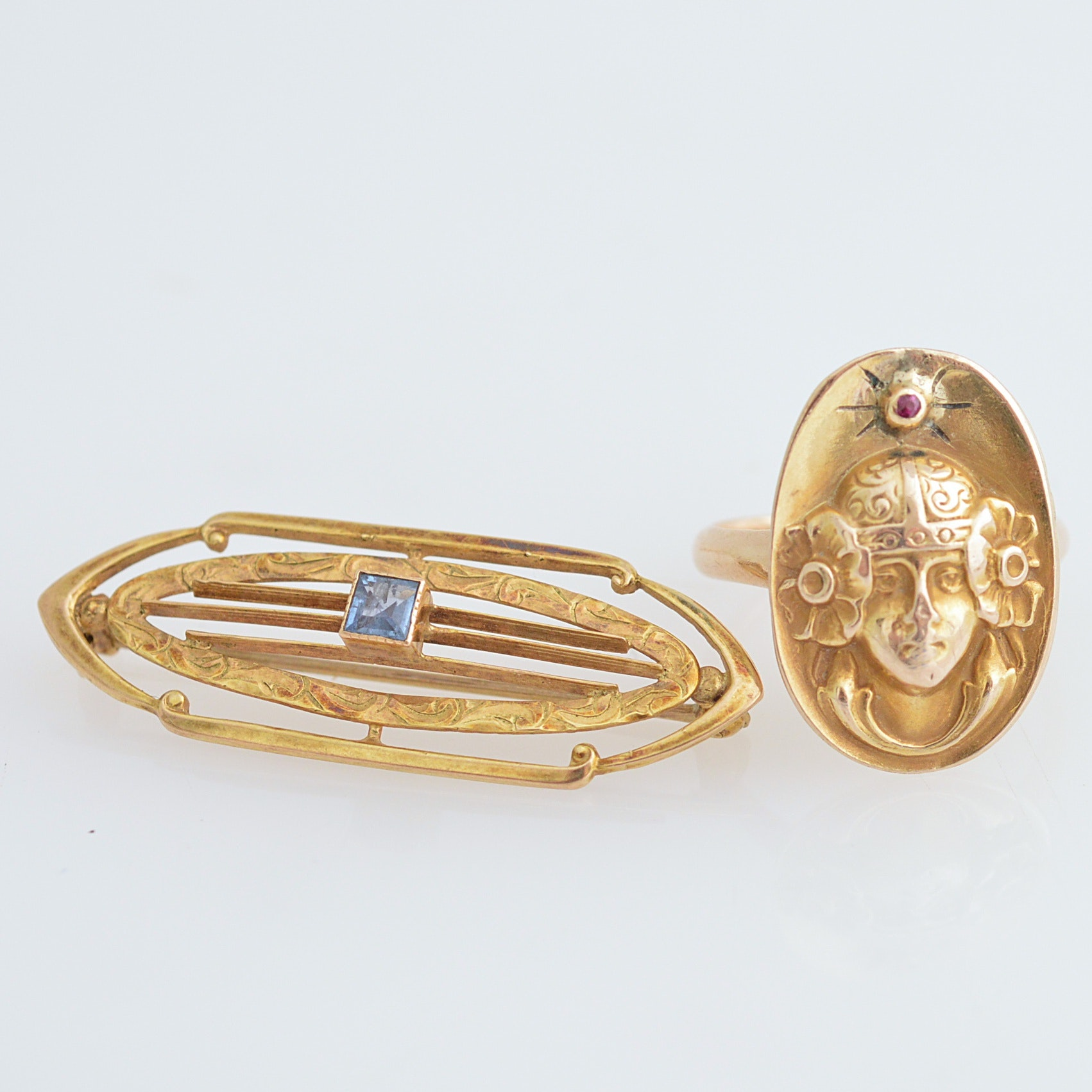 Art Nouveau 10K Gold and Ruby Ring, Arts and Crafts 10K Gold and Sapphire Brooch