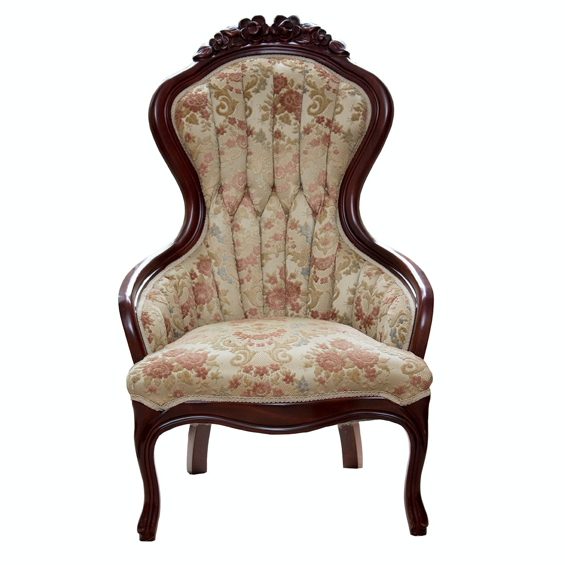 Victorian Style Carved and Upholstered Side Chair