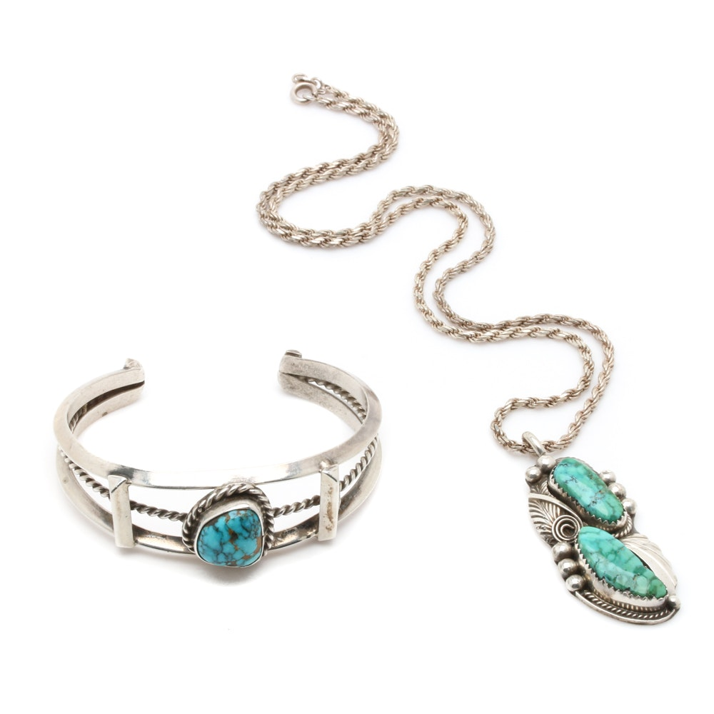 Sterling Silver Southwestern Style Turquoise Bracelet and Justin Morris Necklace