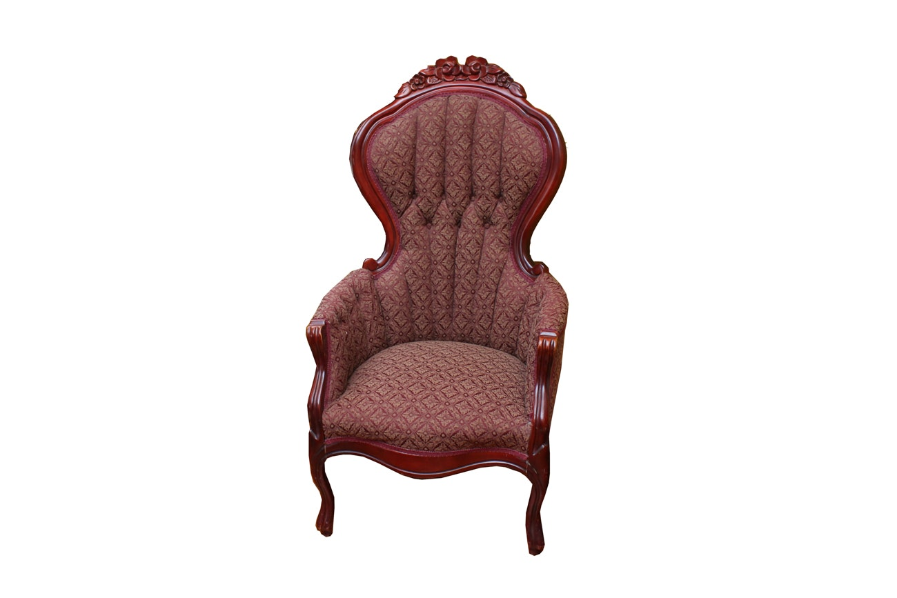 Vintage Victorian Upholstered Wingback Armchair