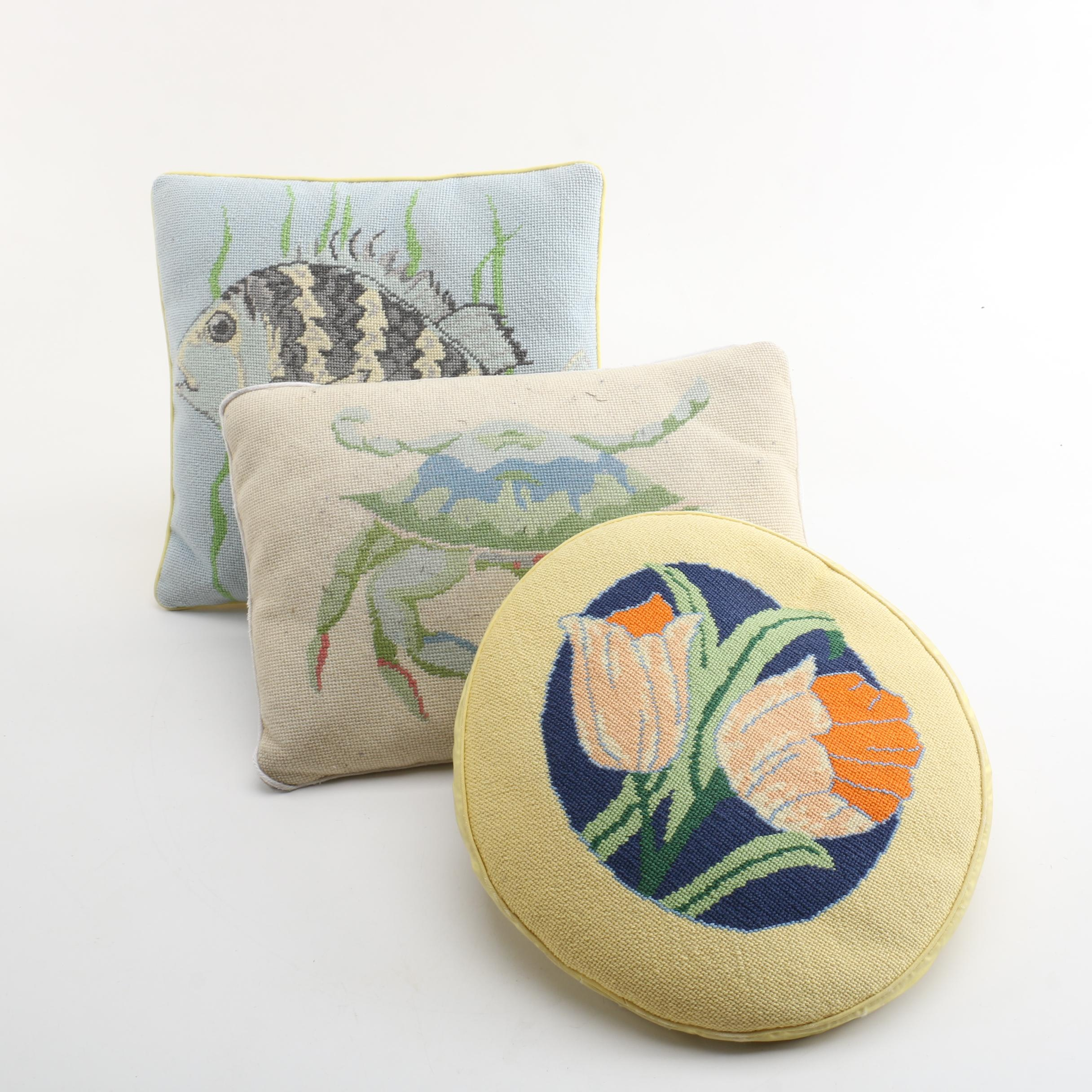 Vintage Needlepoint Accent Pillows with Nature Motif